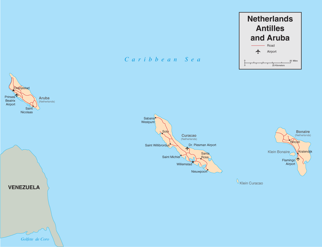Netherlands Antilles And Aruba Map • Mapsof.net