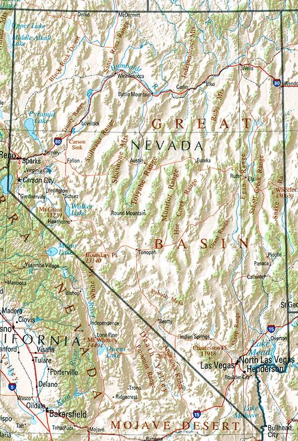 Nevada Geography large map
