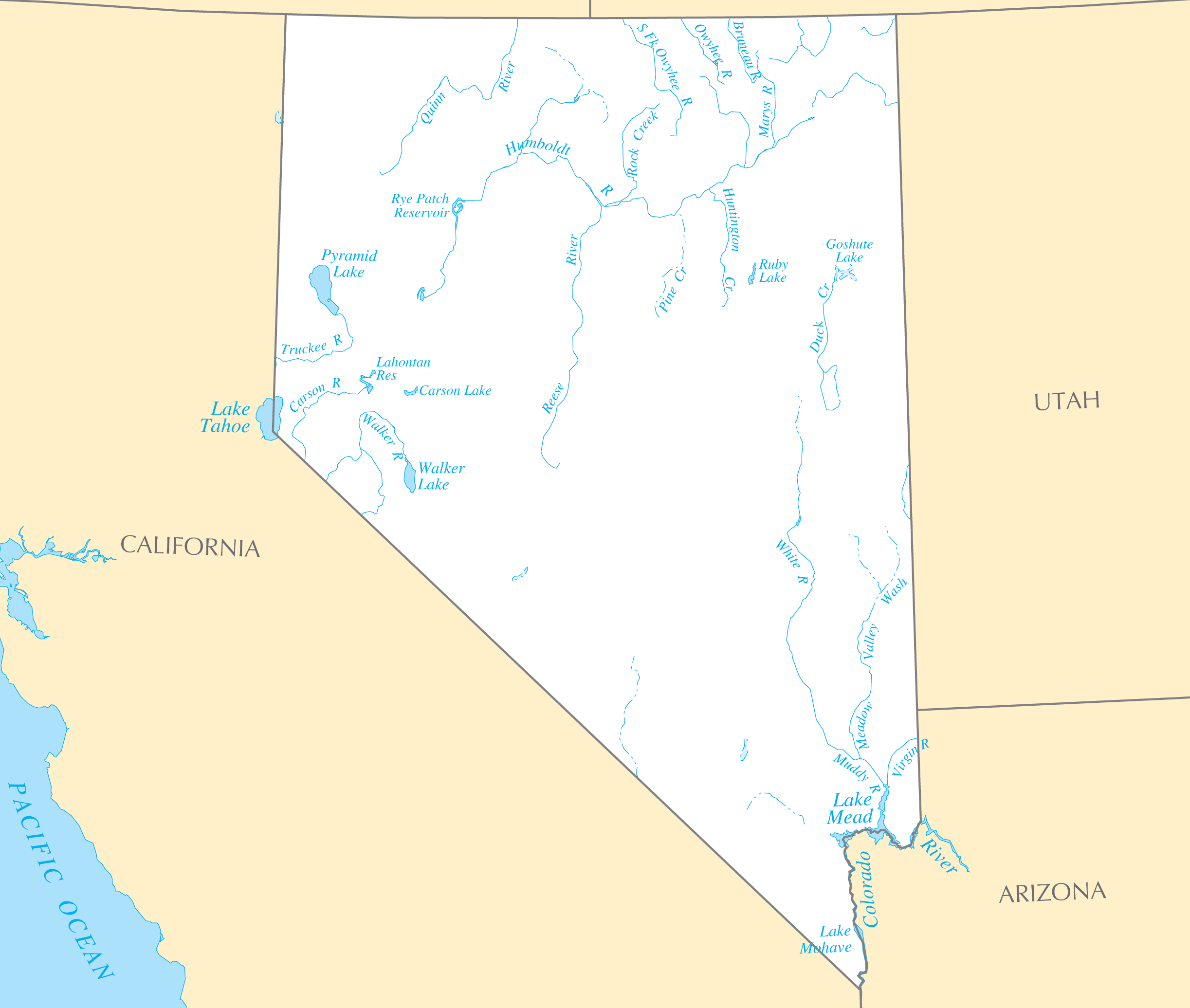 Nevada Rivers And Lakes large map