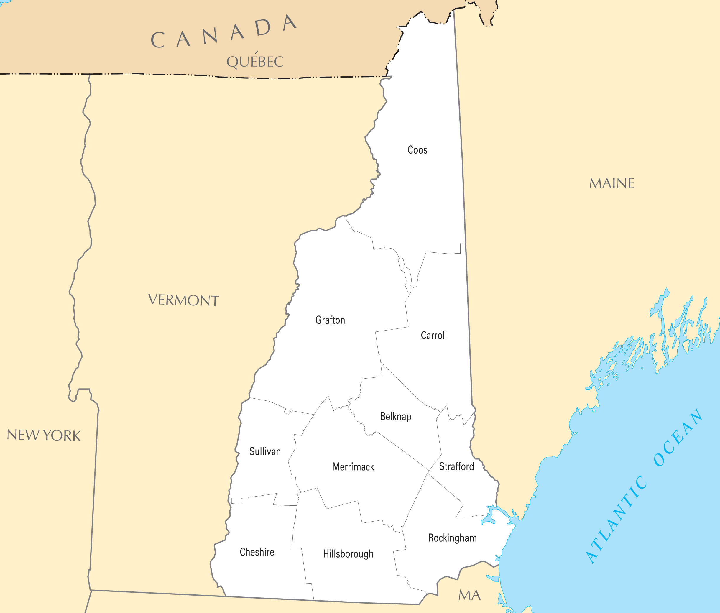 New Hampshire County Map Mapsofnet - New hampshire counties map
