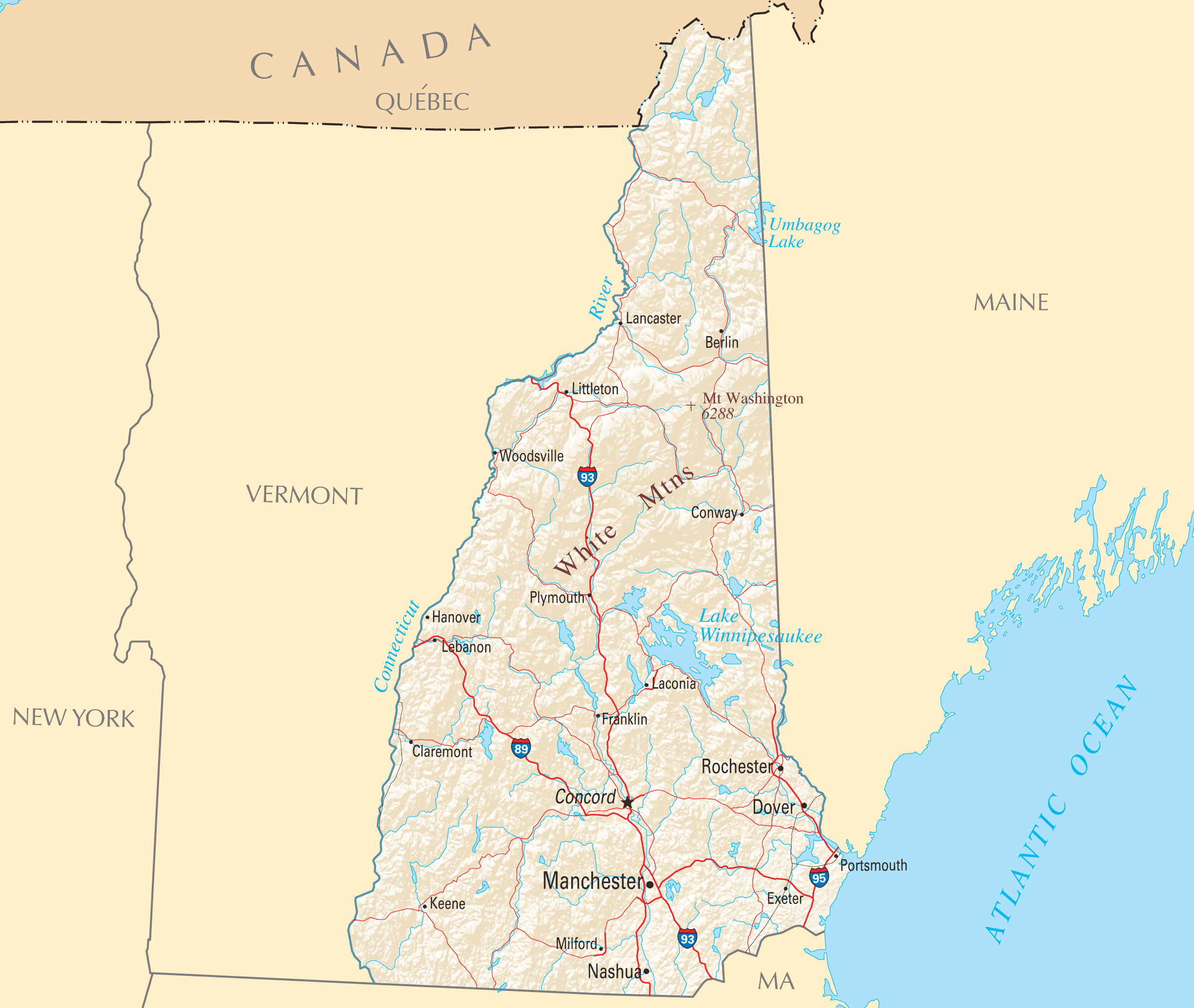 New Hampshire Reference Map Mapsofnet - Map of new hampshire