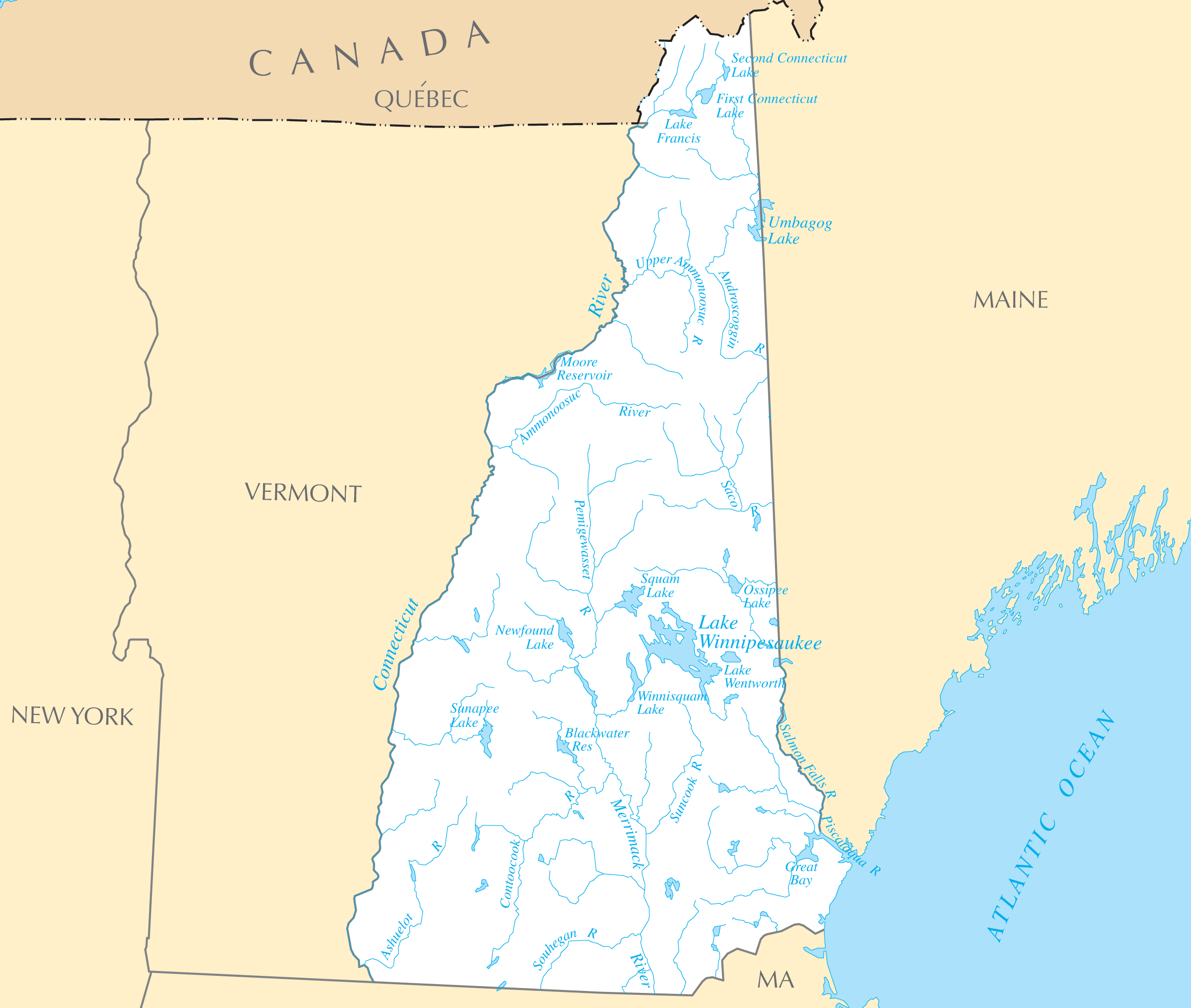 New Hampshire Rivers And Lakes large map