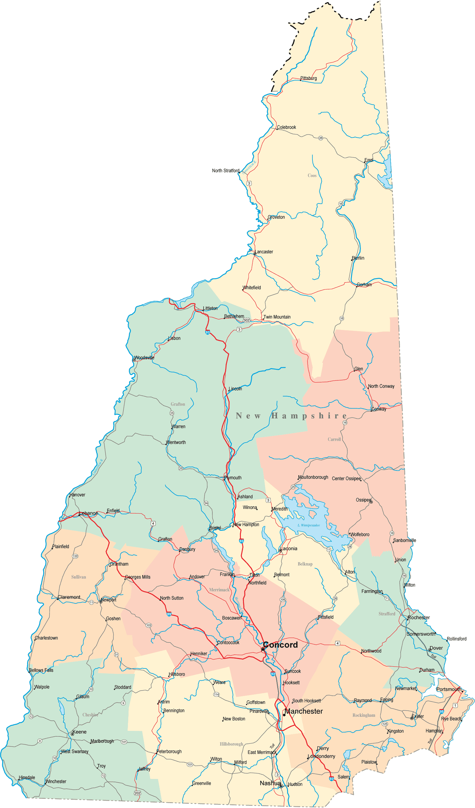 New Hampshire Road Map  Mapsof