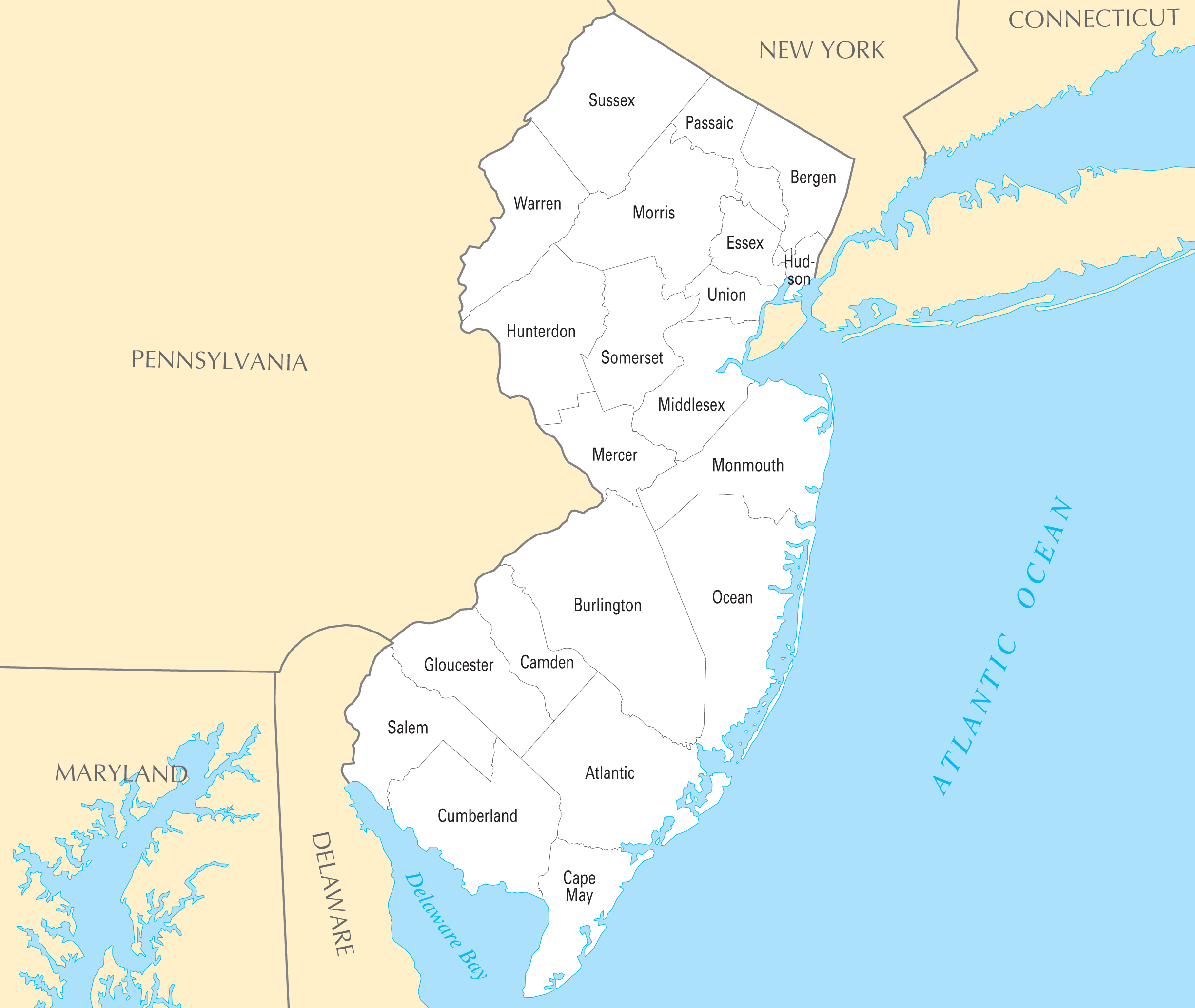 New Jersey County Map Mapsofnet - County map of new jersey