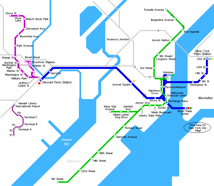 New Jersey Metro Map large map