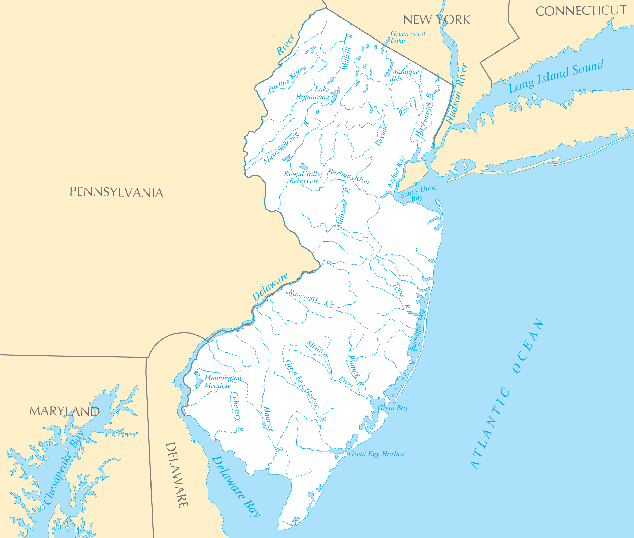 New Jersey Rivers And Lakes Mapsofnet