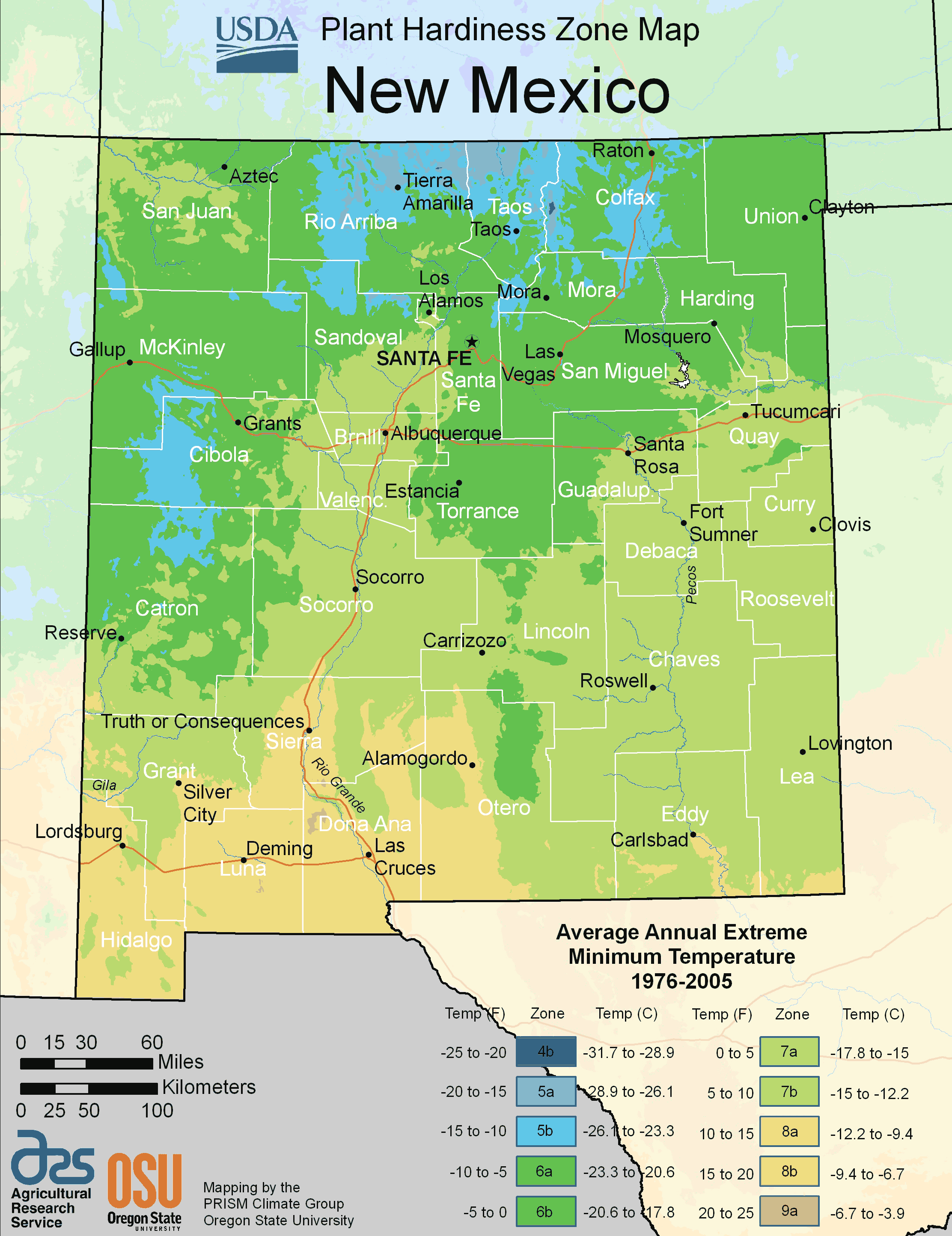 New Mexico Plant Hardiness Zone Map Mapsof Net