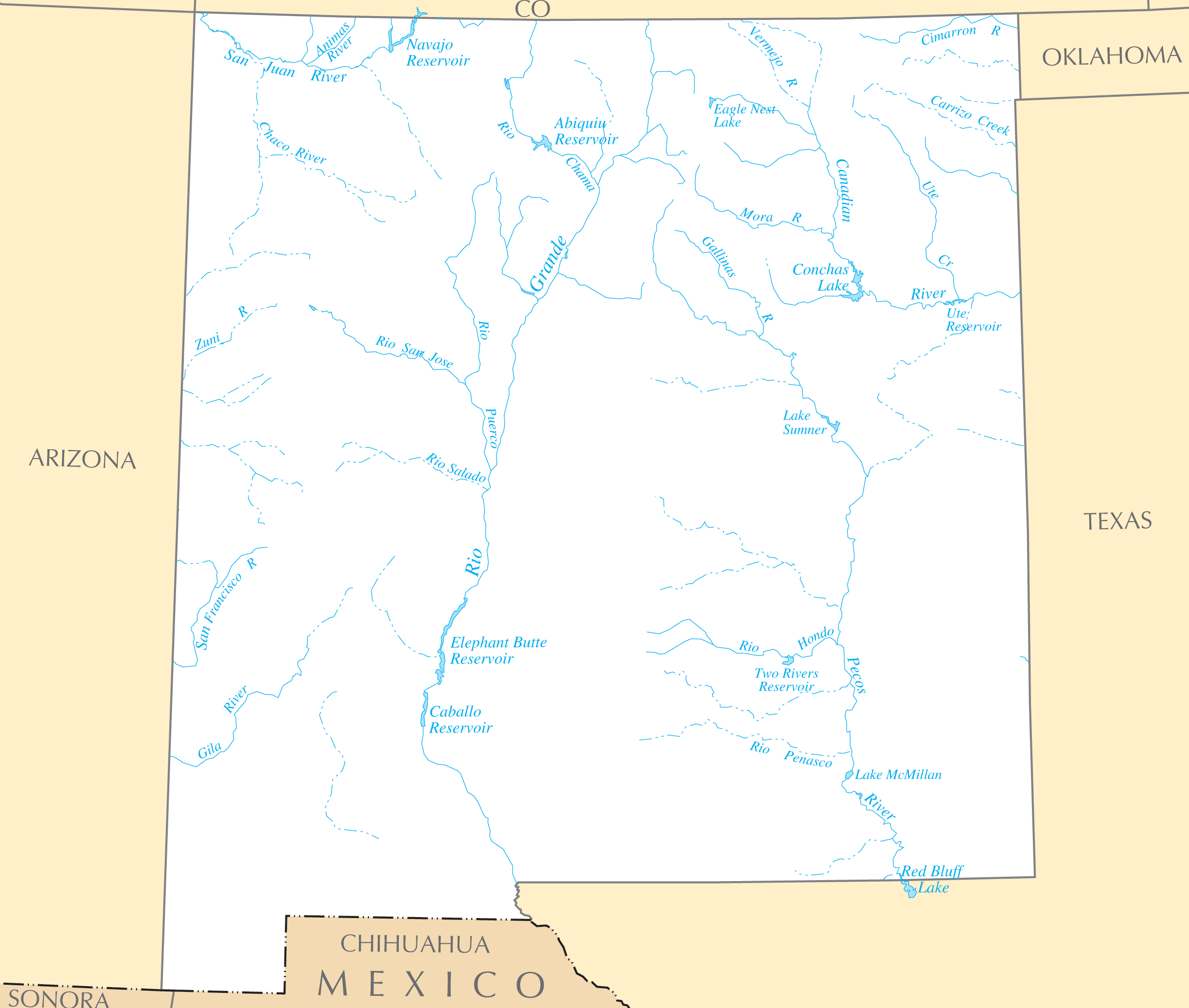 Rivers In New Mexico Map.New Mexico Rivers And Lakes Mapsof Net