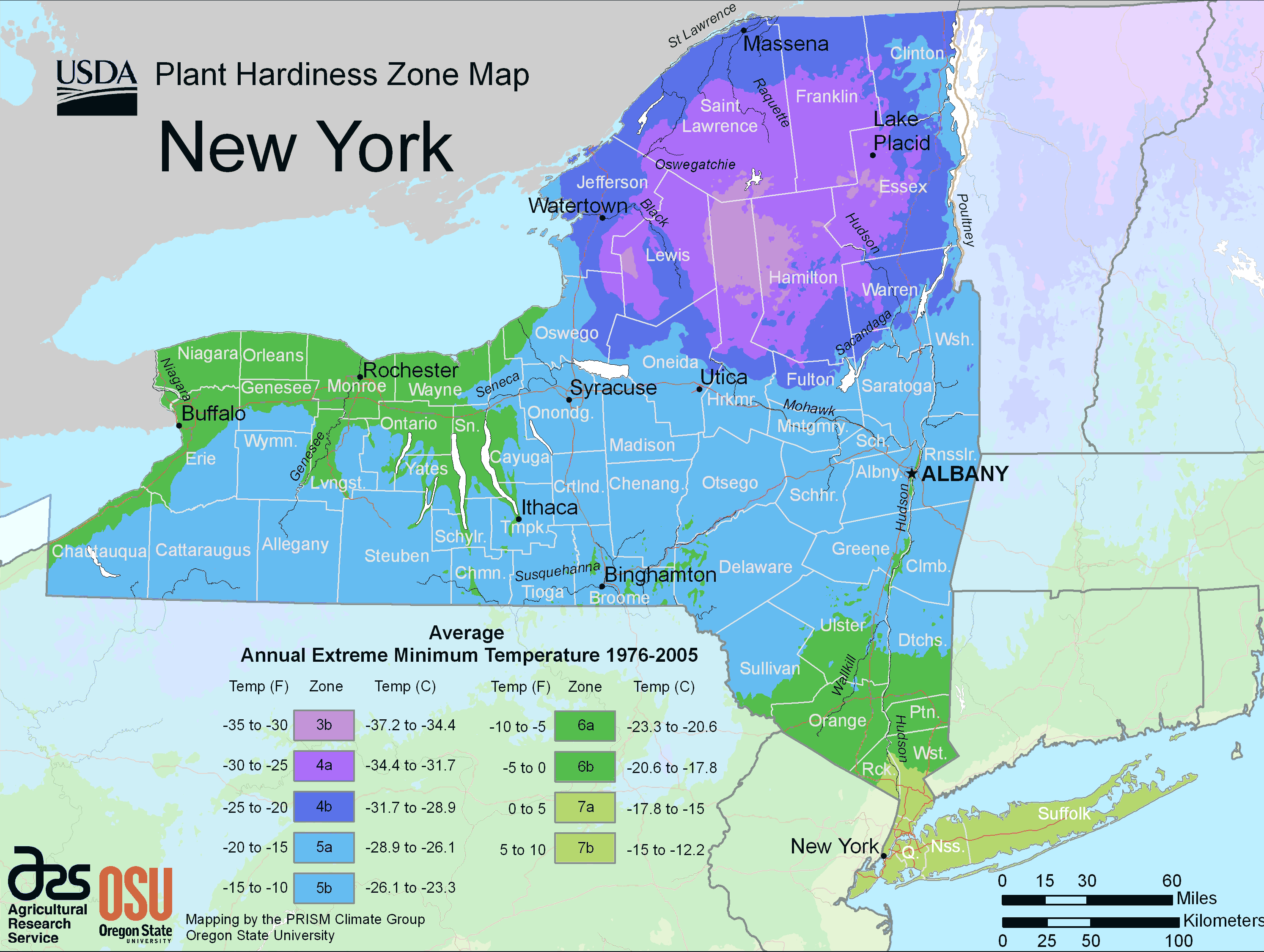 New York Plant Hardiness Zone Map