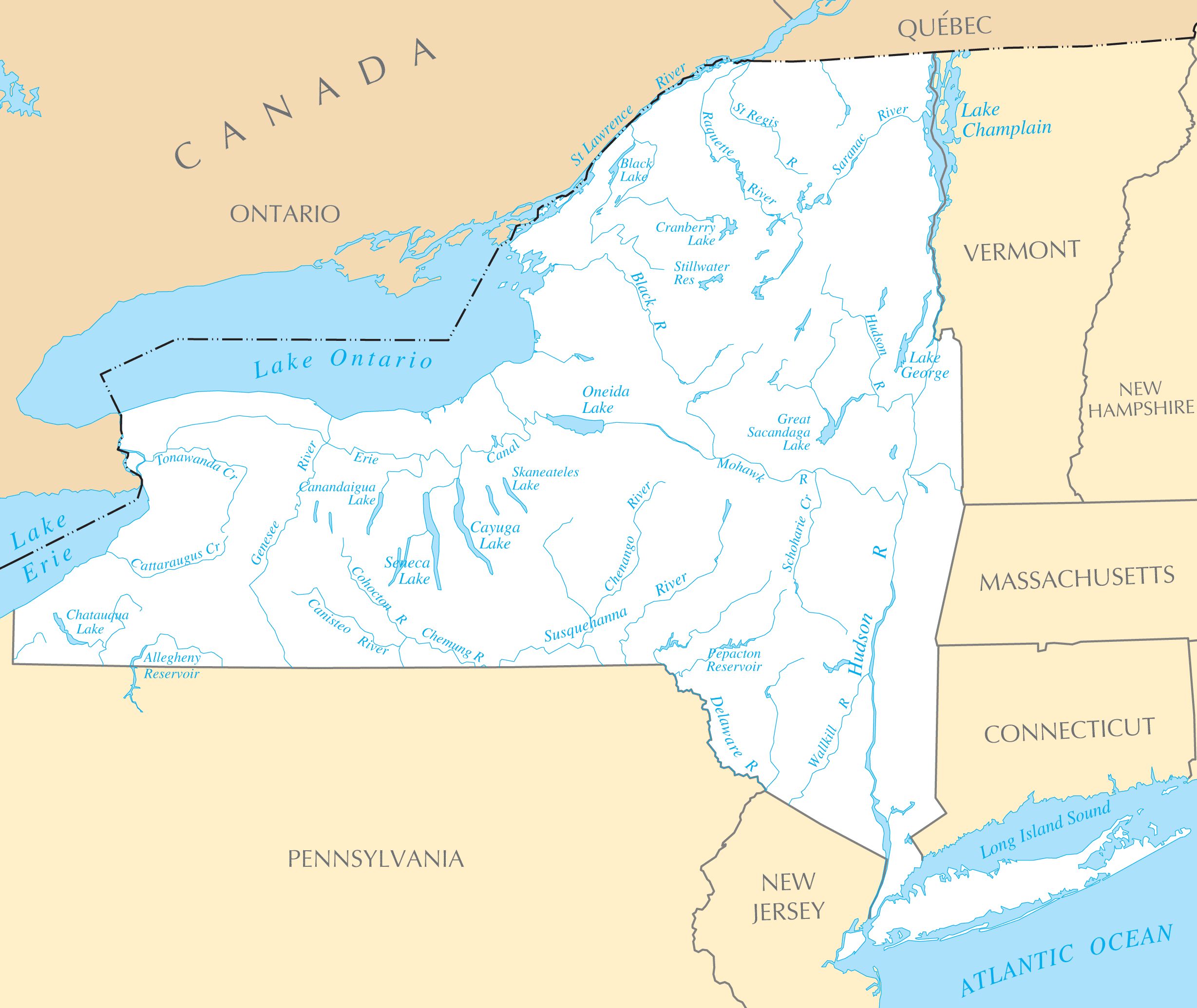 New York Map Rivers