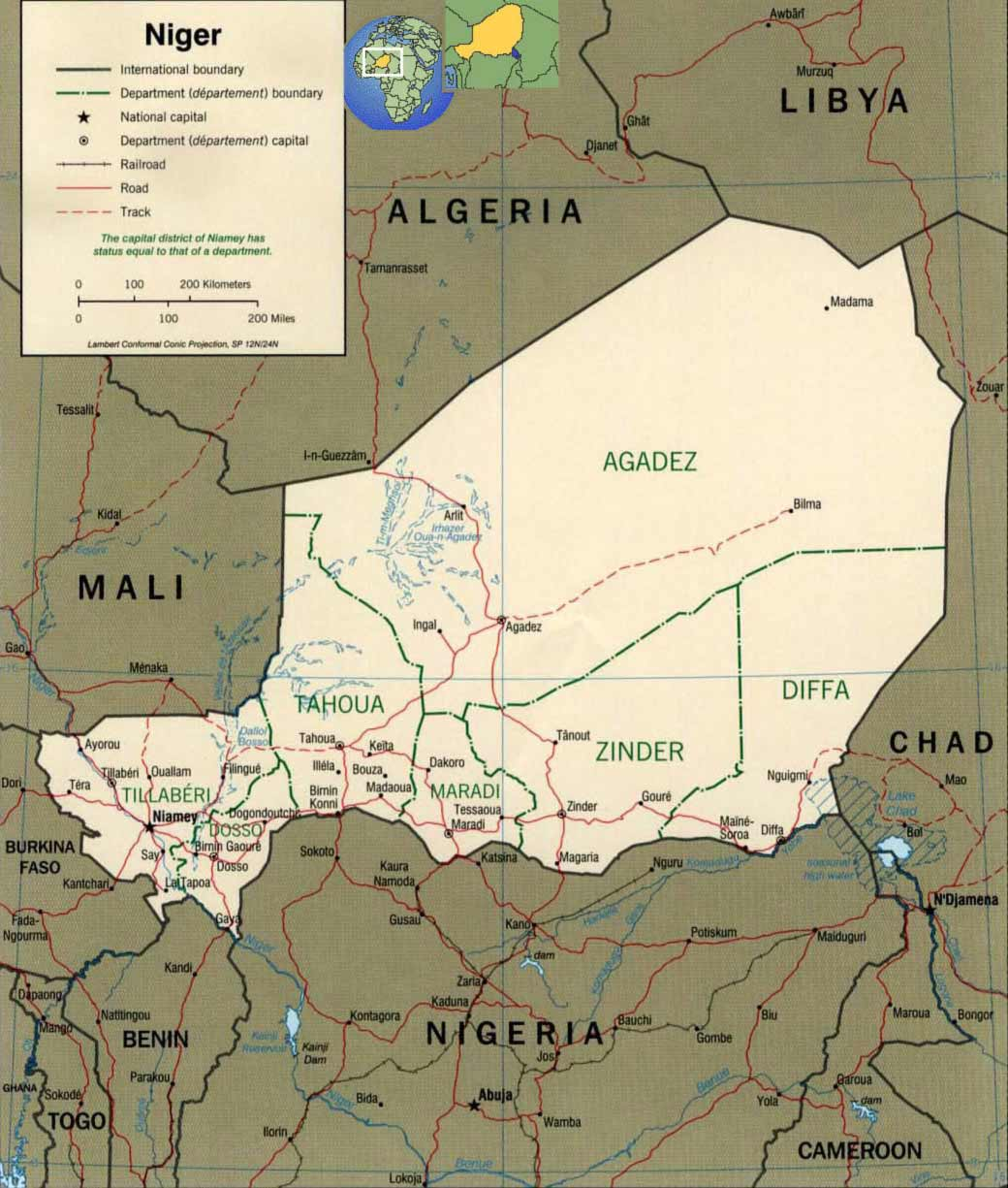 Niger Neighbours Map large map