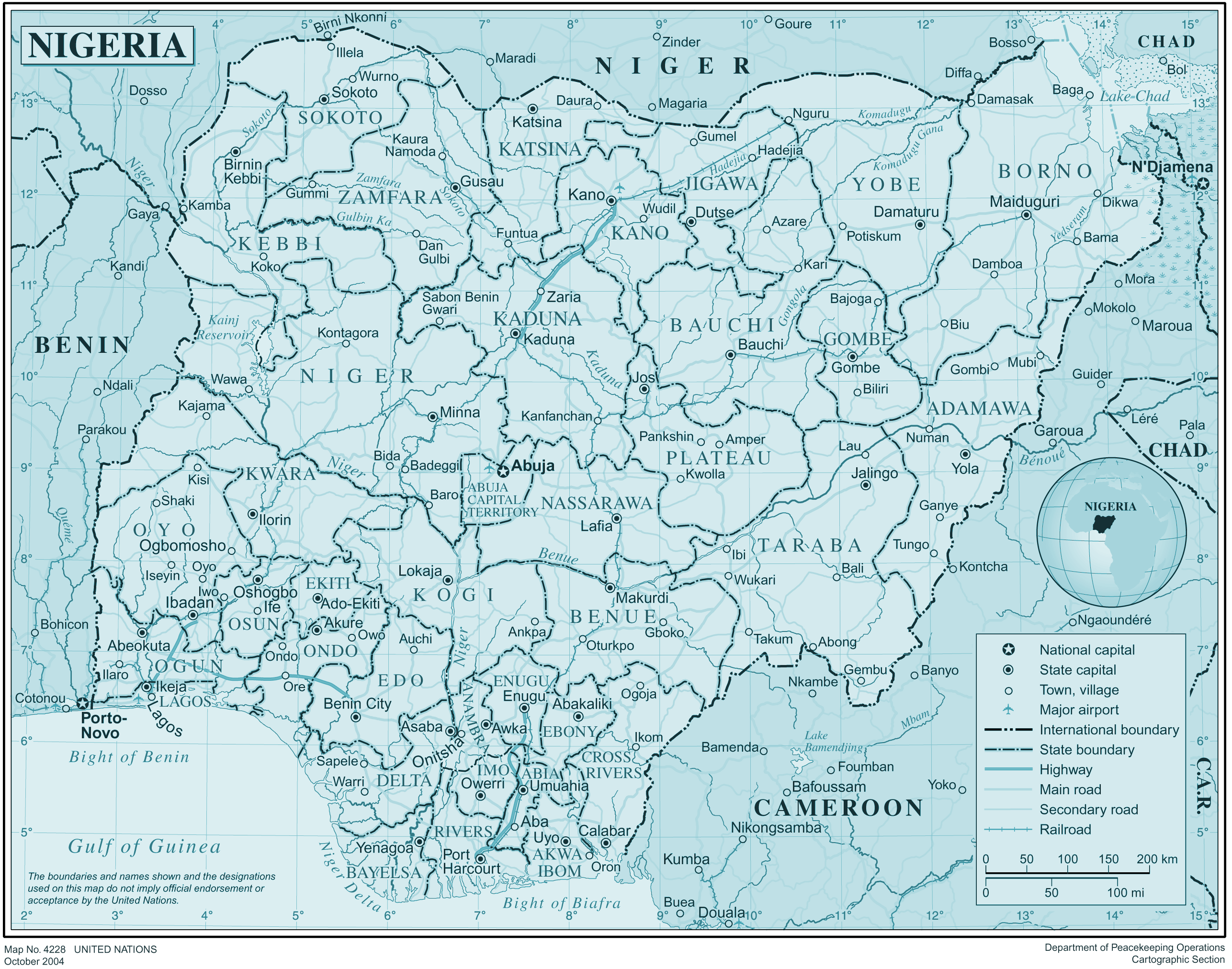 Nigeria large map