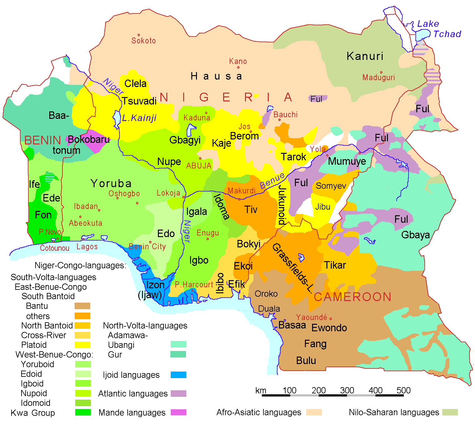 Nigeria Benin Cameroon Languages large map