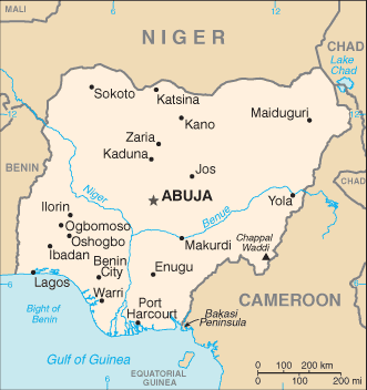 Nigeria Cia Wfb Map large map