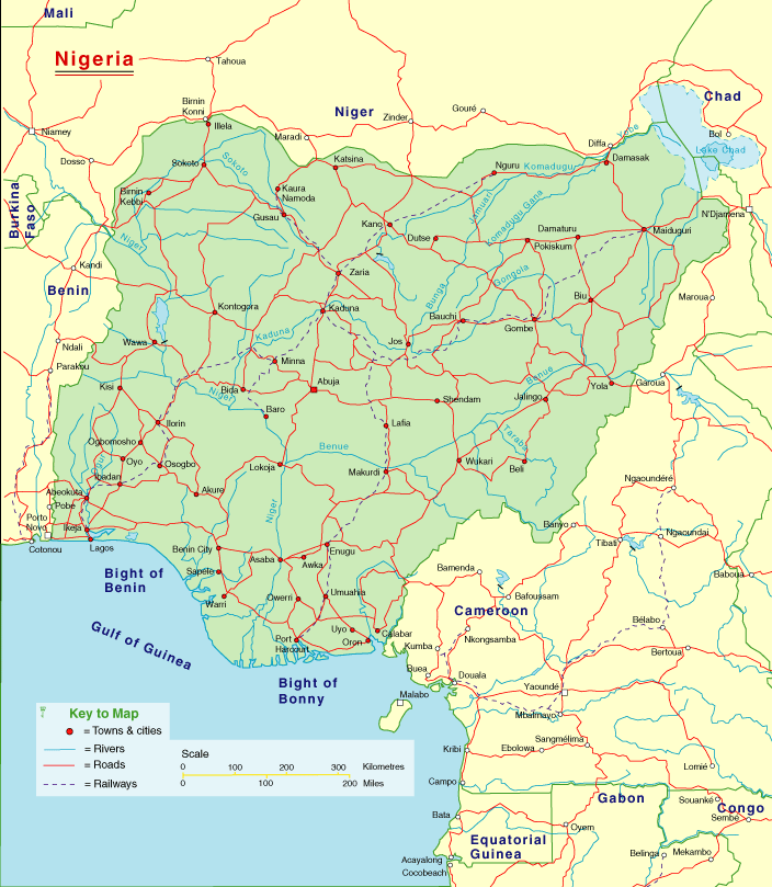 Nigeria Detailed Map large map