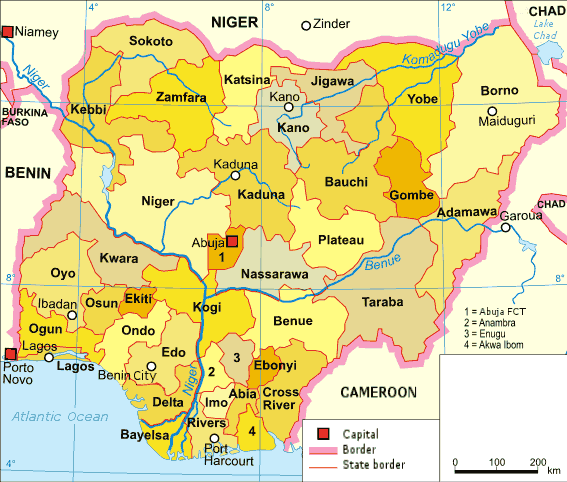 Nigeria Karte Politisch English large map