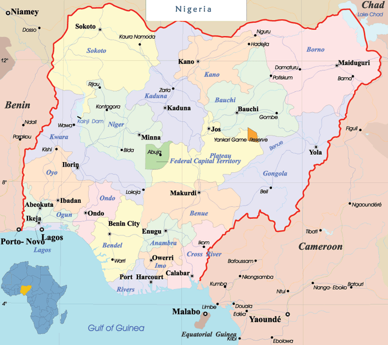 Nigeria Political Map large map