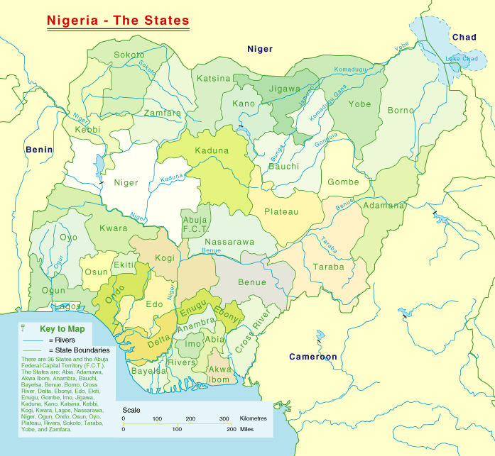 Nigeria States Map large map