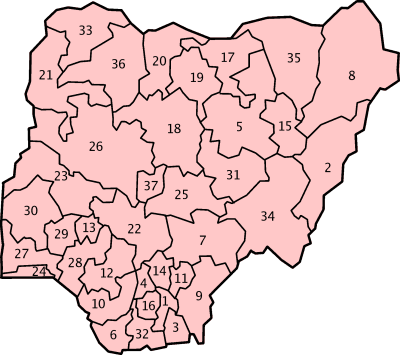 Nigerianumbered large map