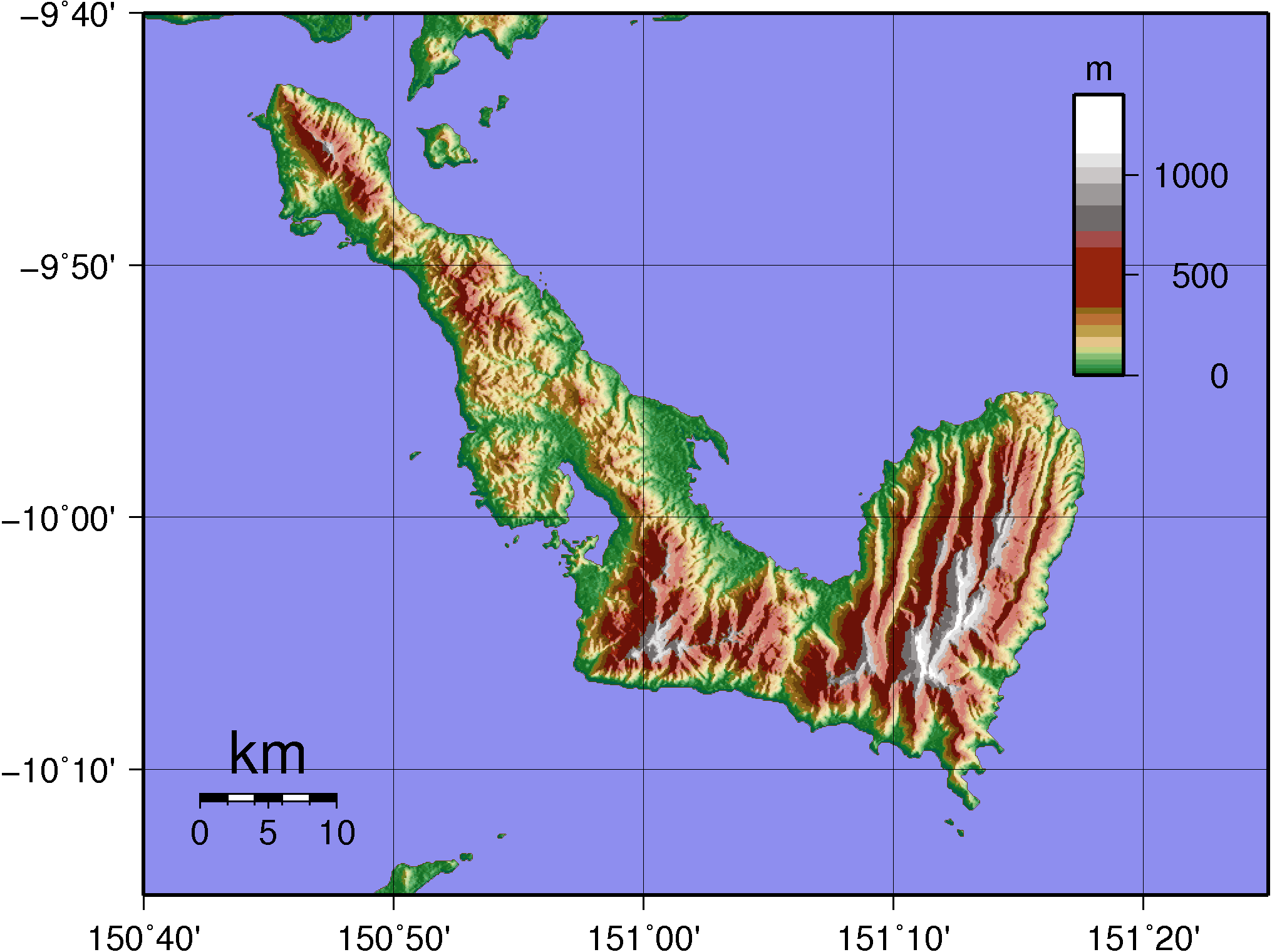 Normanby Island (png) Topography large map