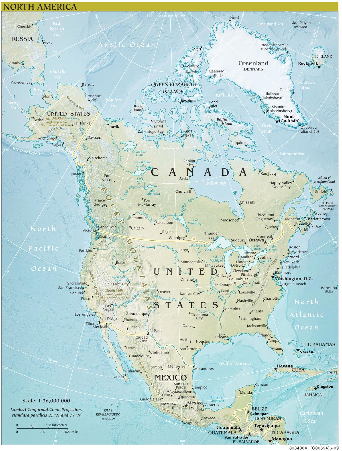 North America Continent Map large map