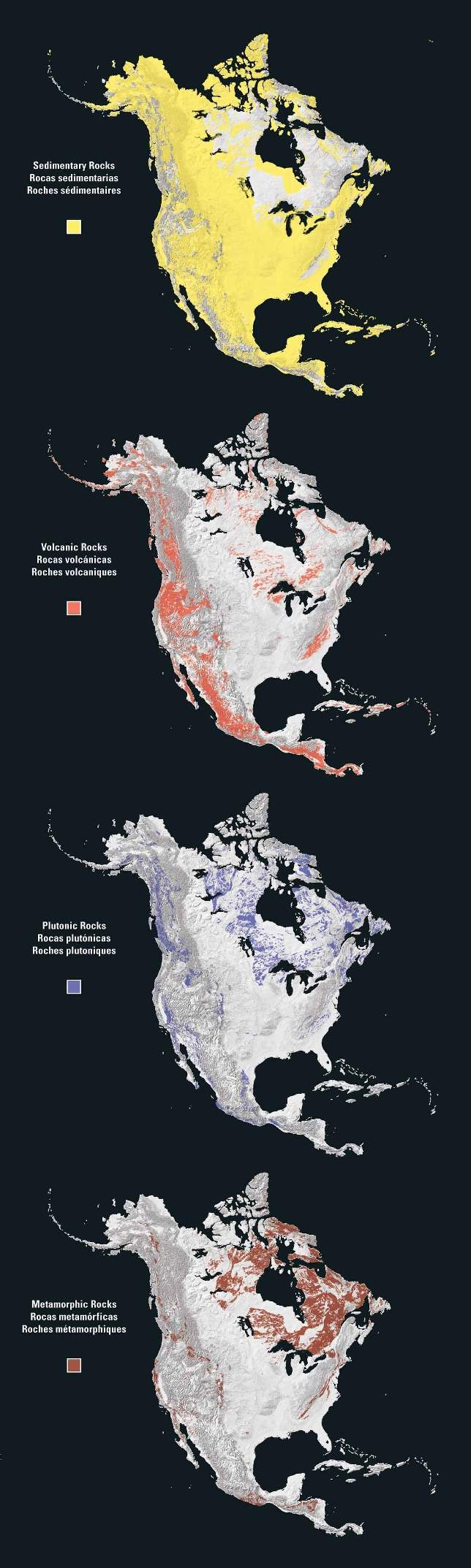 North America Rock Types large map