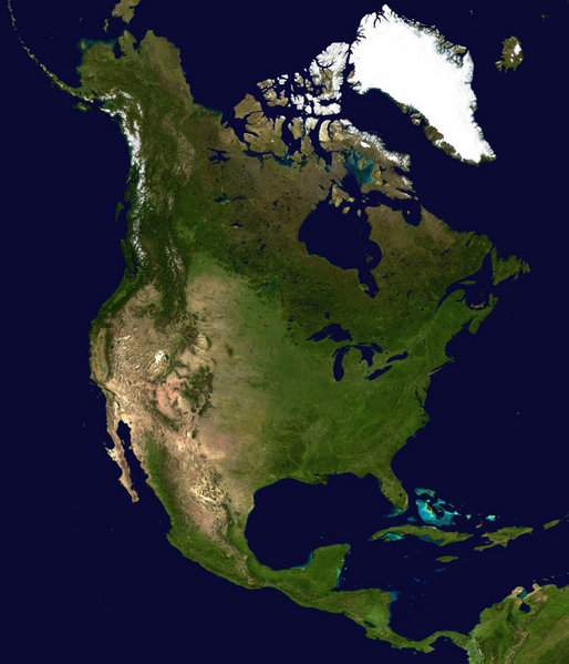 North America Satellite Globe large map