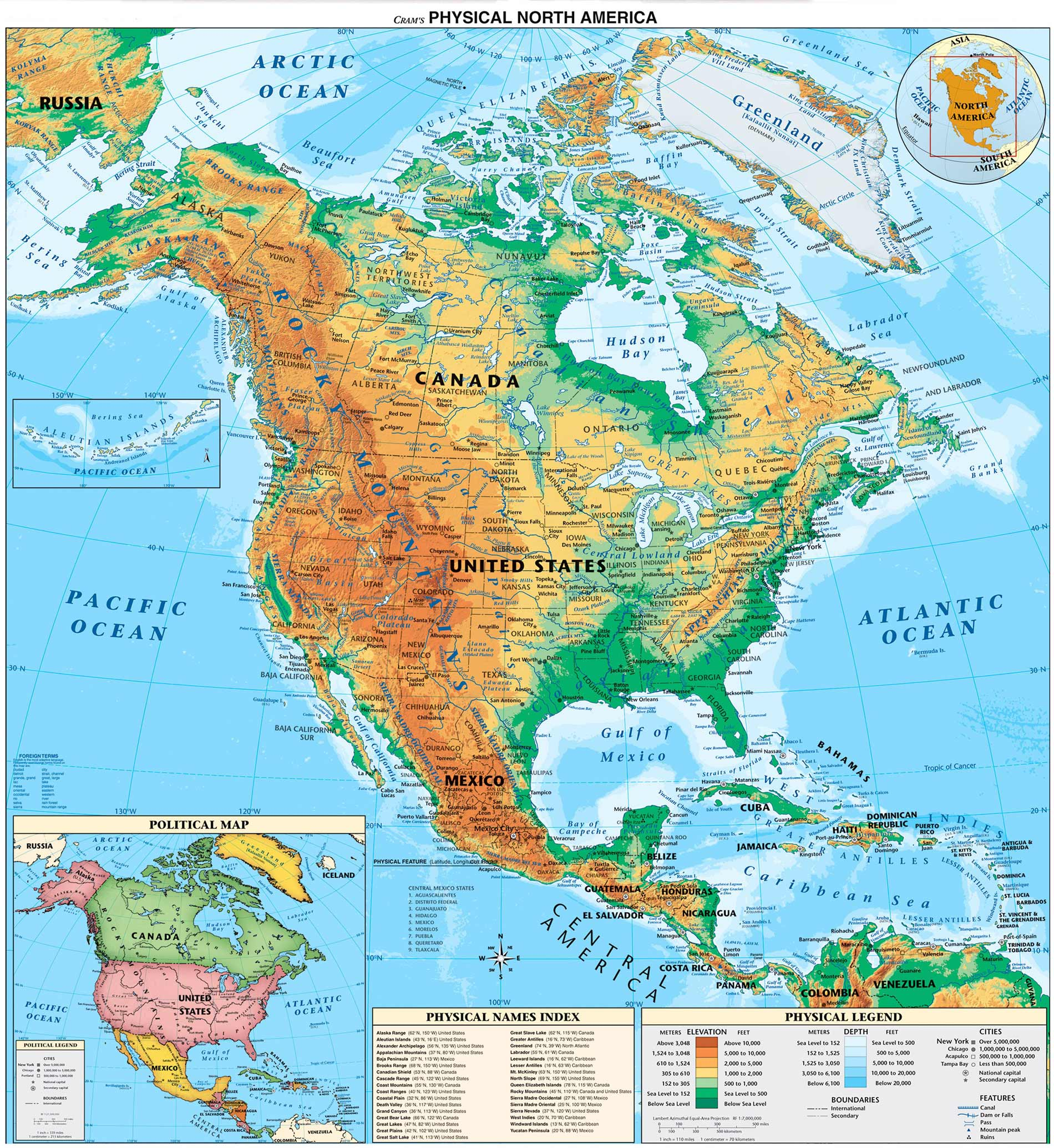 North And Central America Physical Map large map