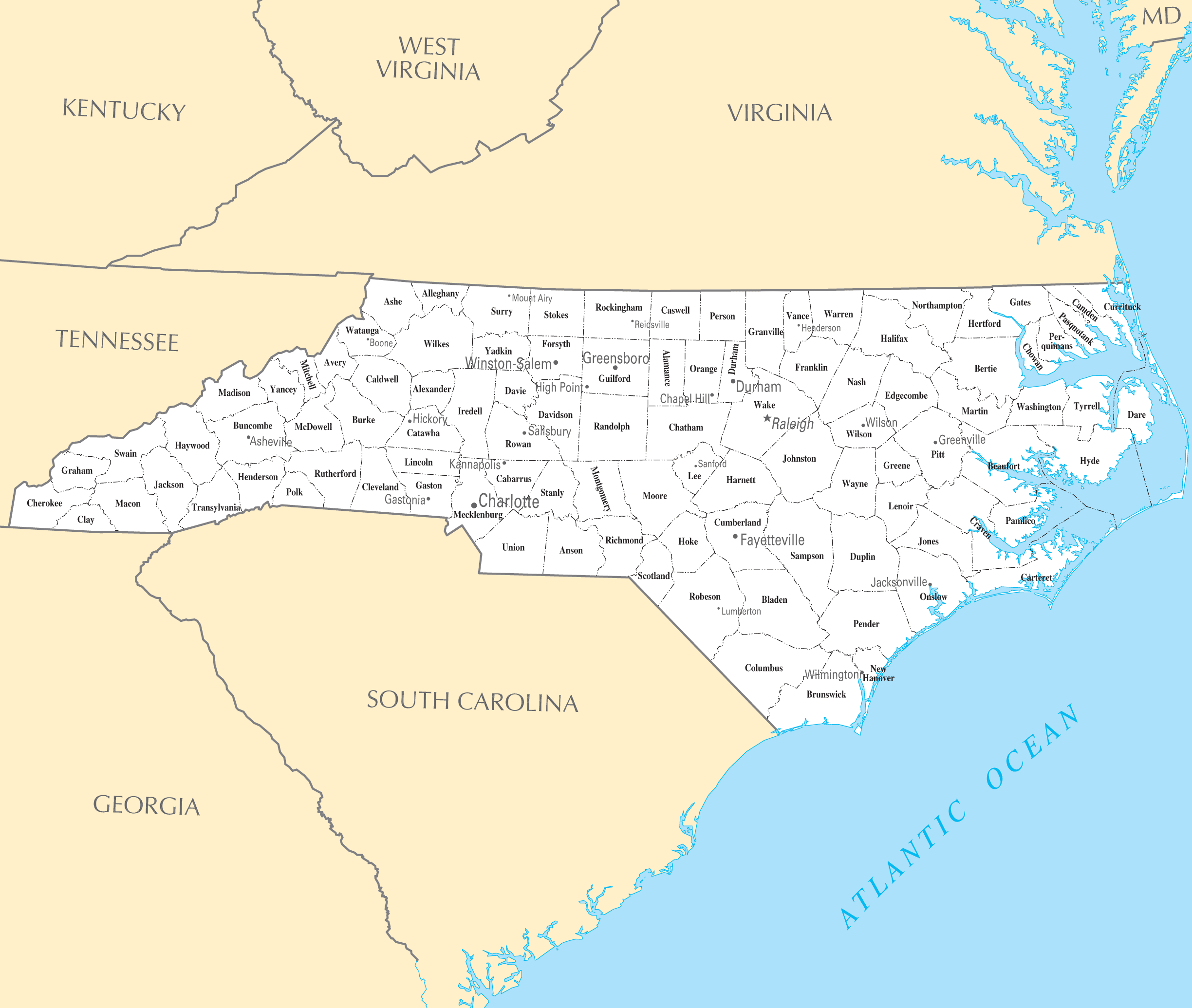 North Carolina Cities And Towns large map