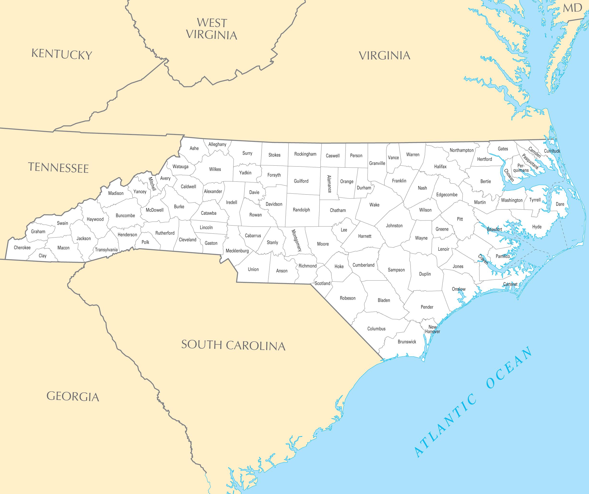 North Carolina County Map • Mapsof.net