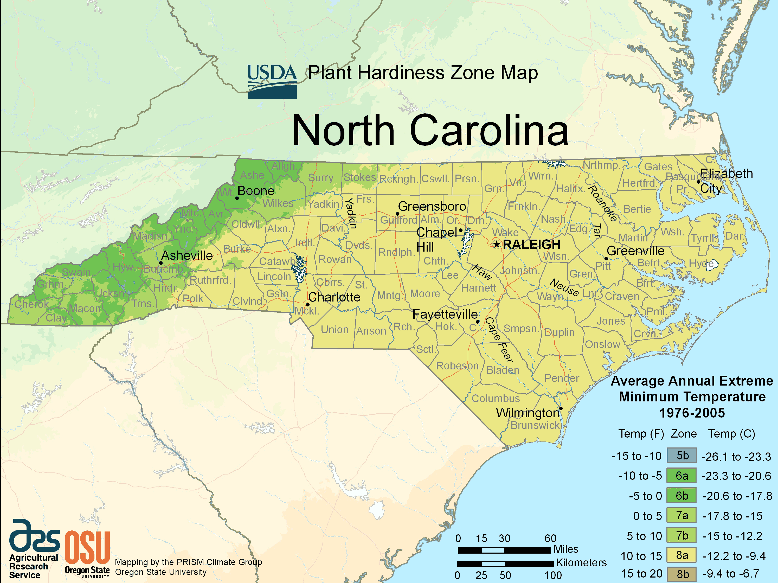 North Carolina Plant Hardiness Zone Map