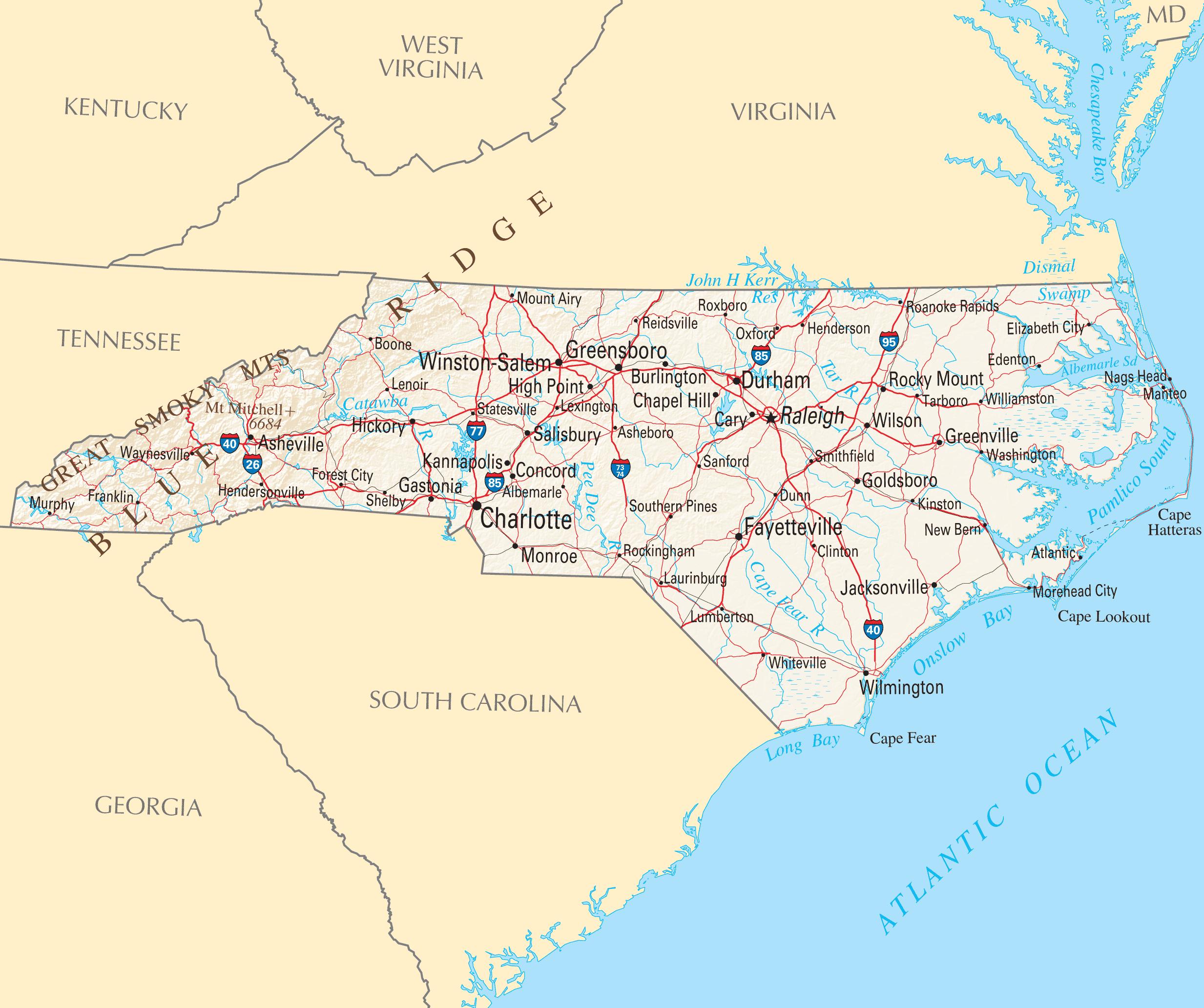 North Carolina Reference Map • Mapsof.net