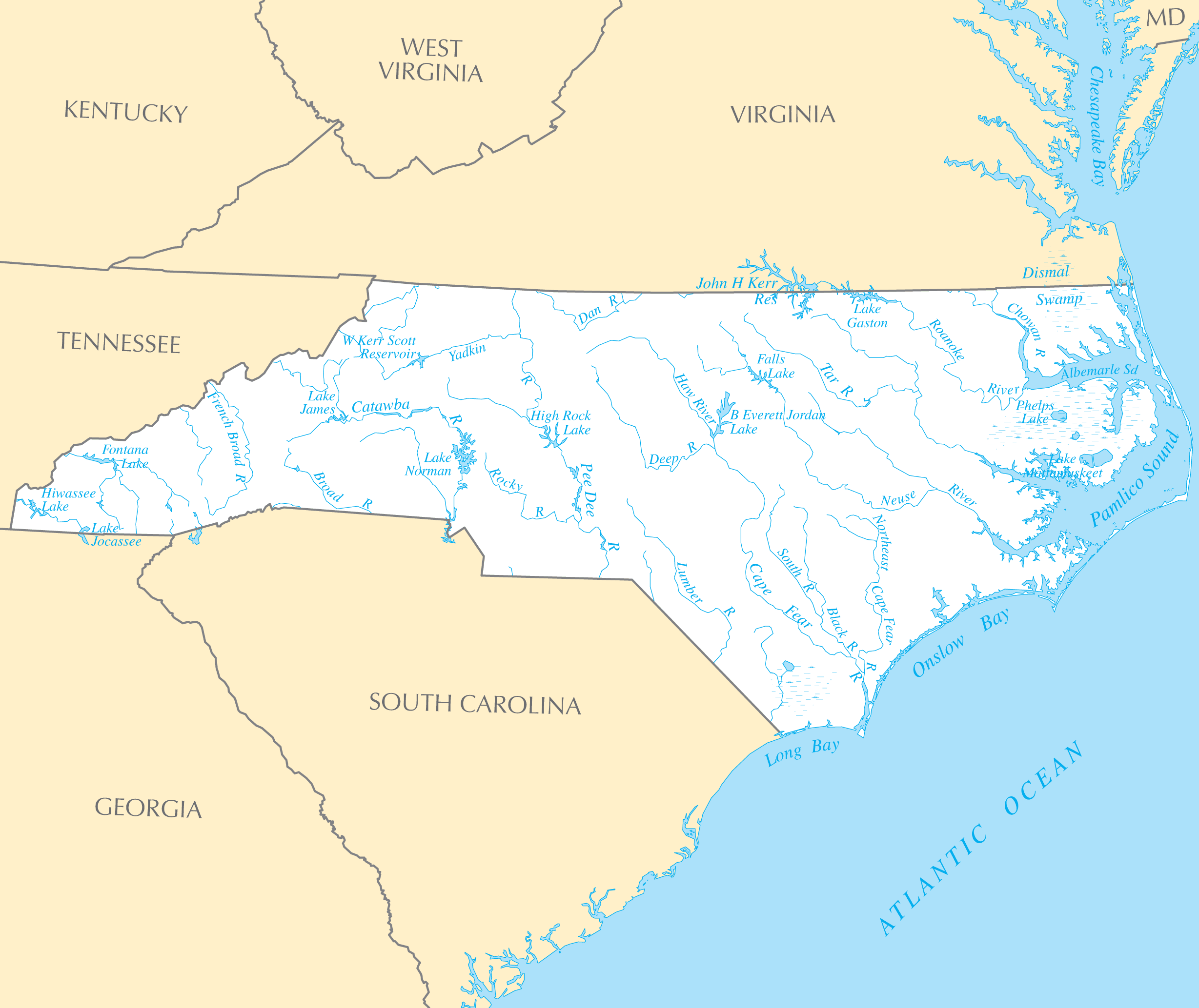 North Carolina Rivers And Lakes large map