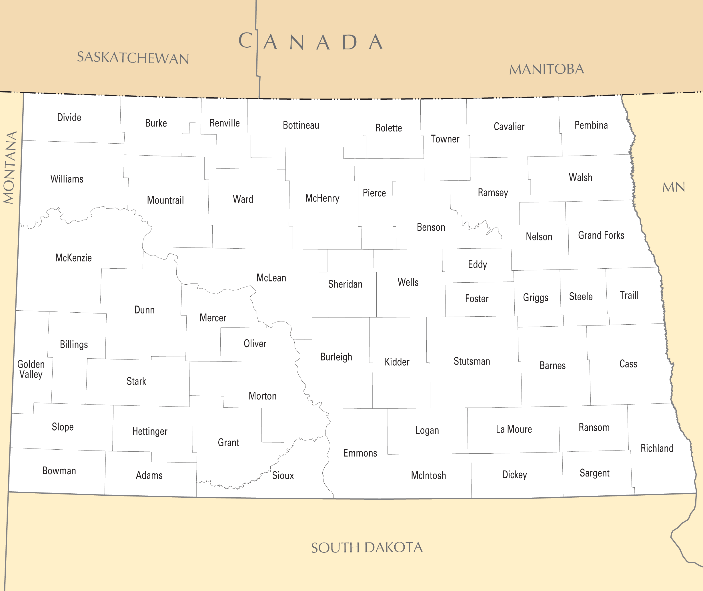 North Dakota County Map • Mapsof.net