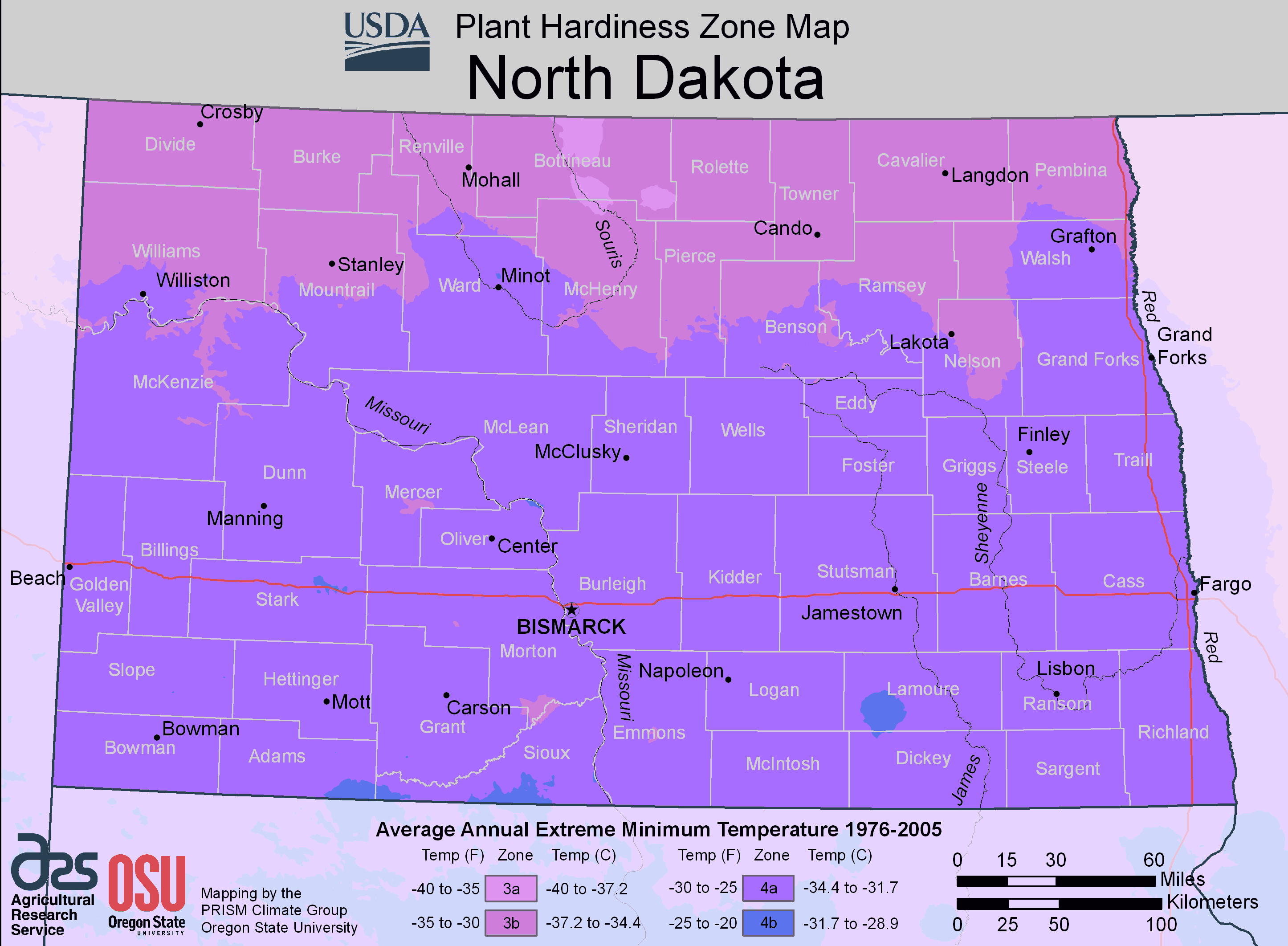 North Dakota Plant Hardiness Zone Map Mapsofnet - Maps of north dakota