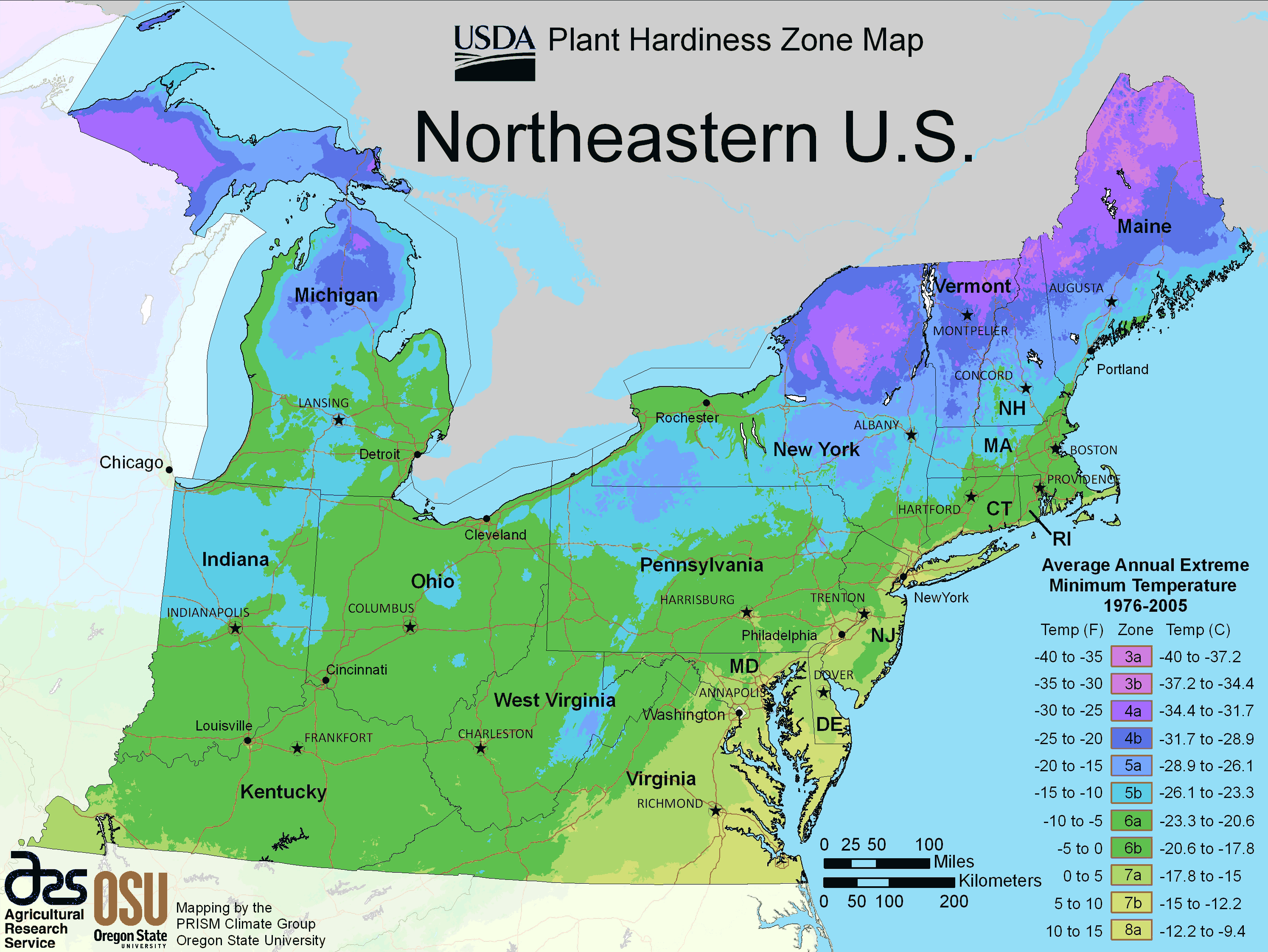 North East Us Plant Hardiness Zone Map large map