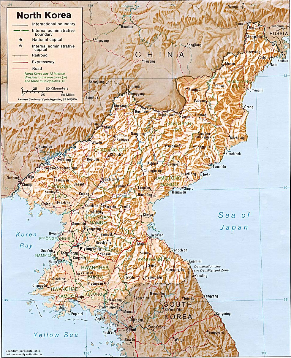 North Korea Shaded Relief large map
