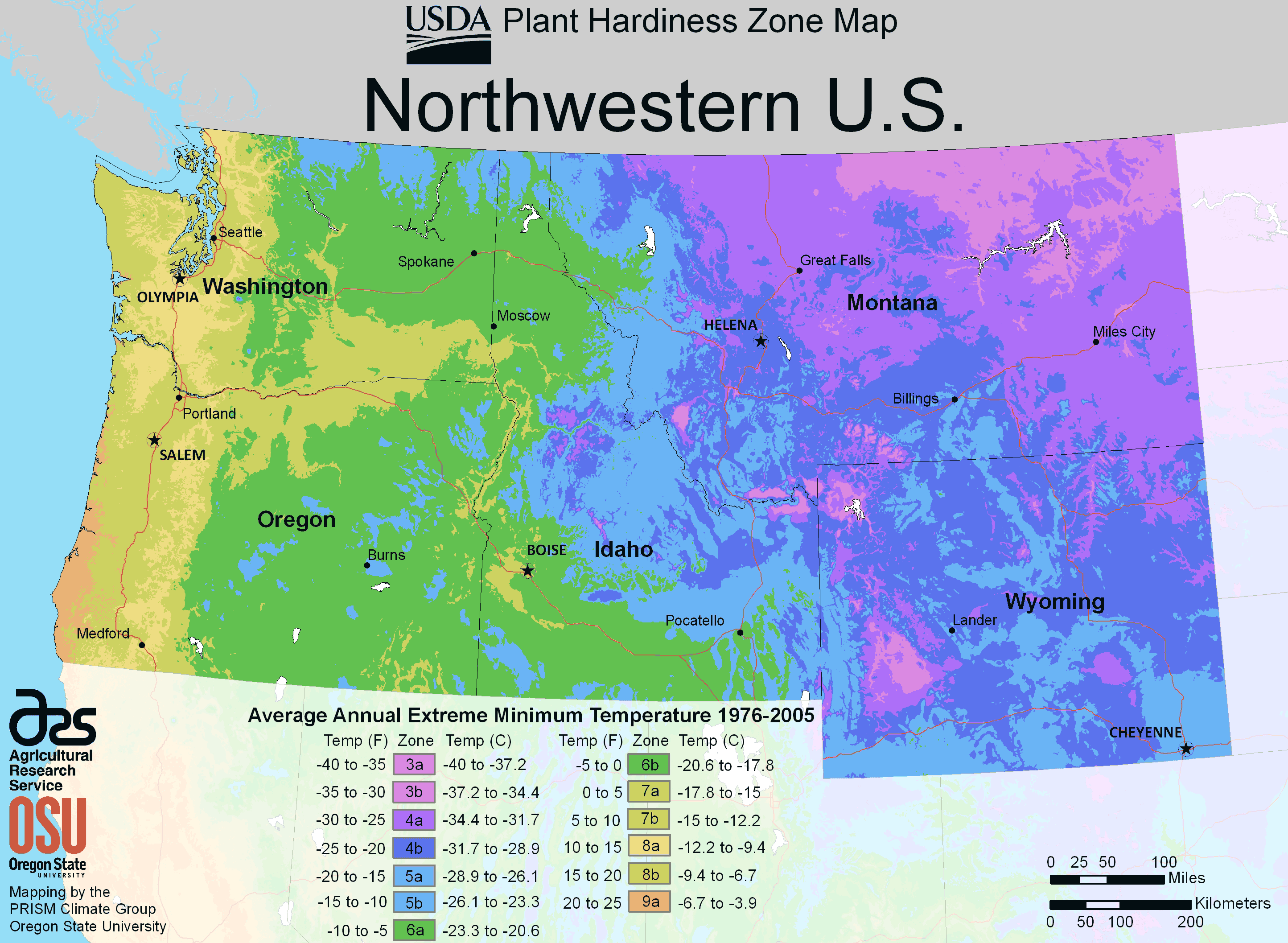 Northwestern US Physical Map North West Us Plant Hardiness Zone - Physical map of western us