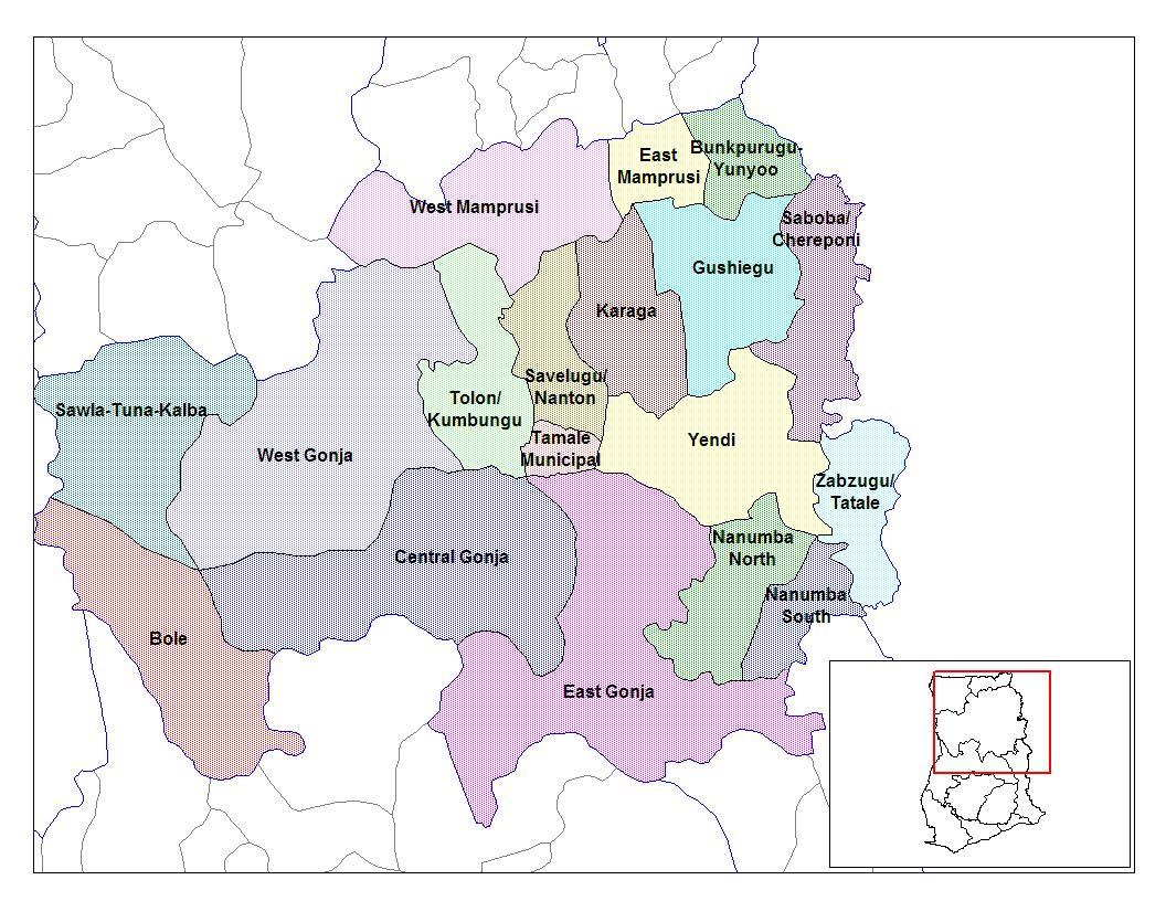 Northern Ghana Districts large map