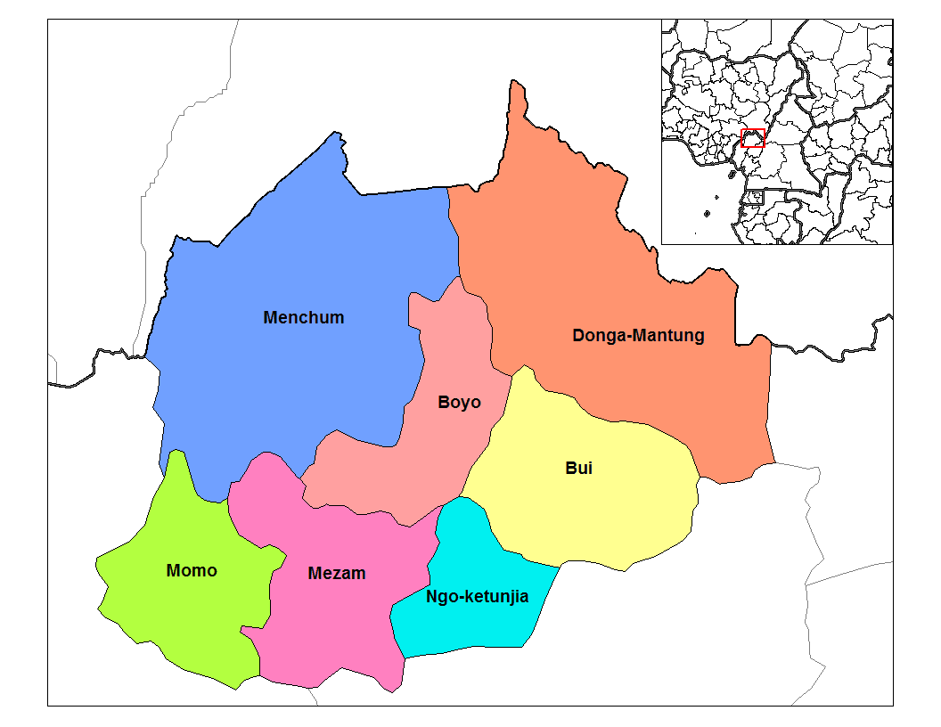 Northwest Cameroon Divisions large map