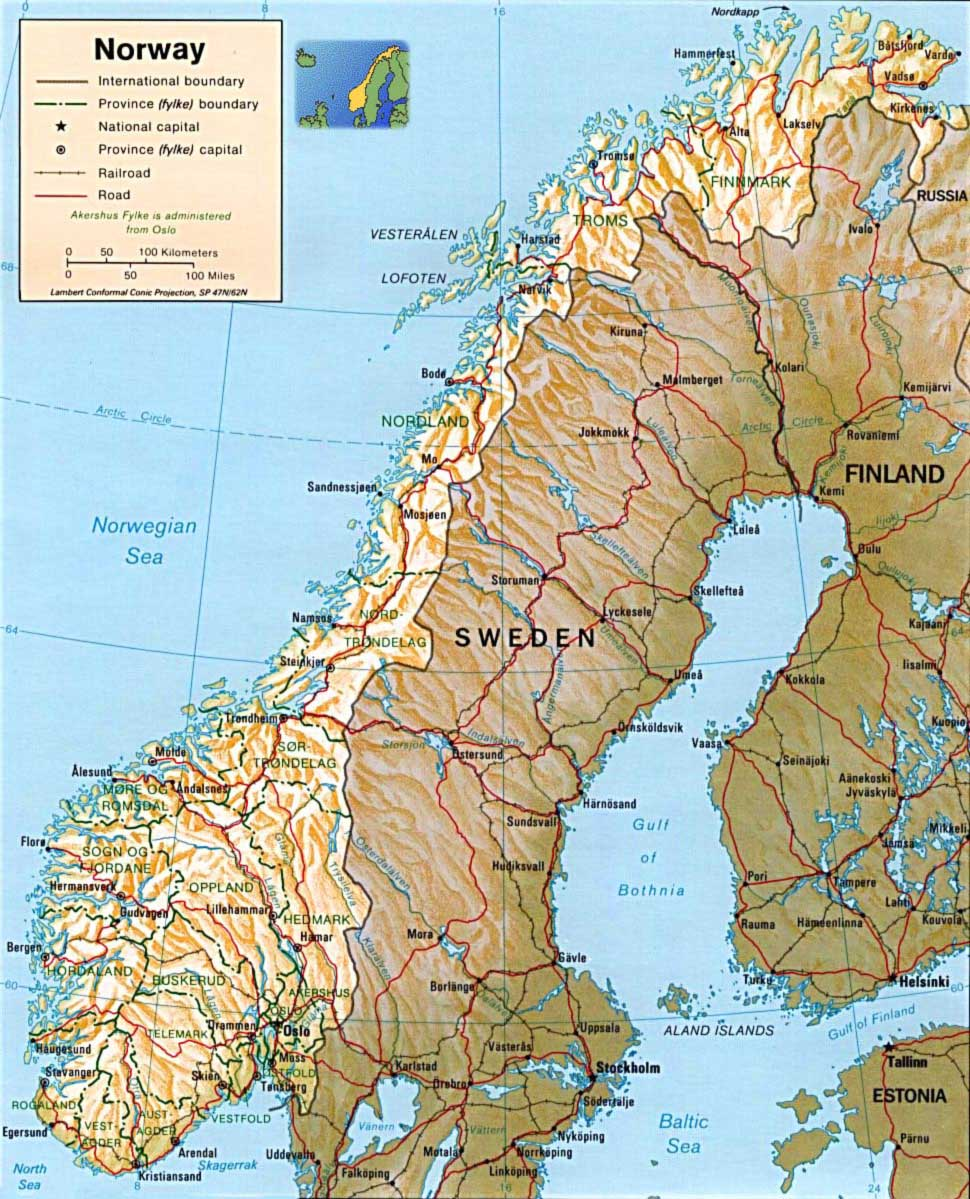 Norway Physical Map Mapsofnet - Norway map picture
