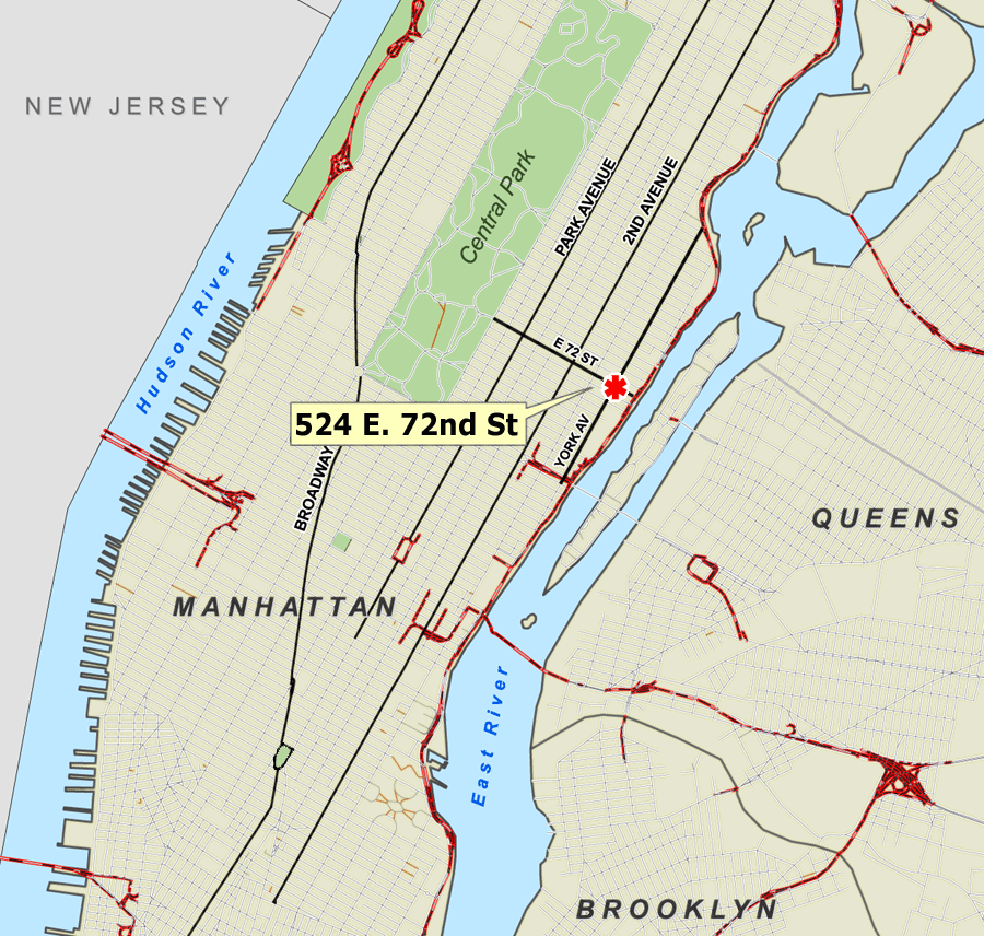 Nyc E72st Plane Crash Map large map