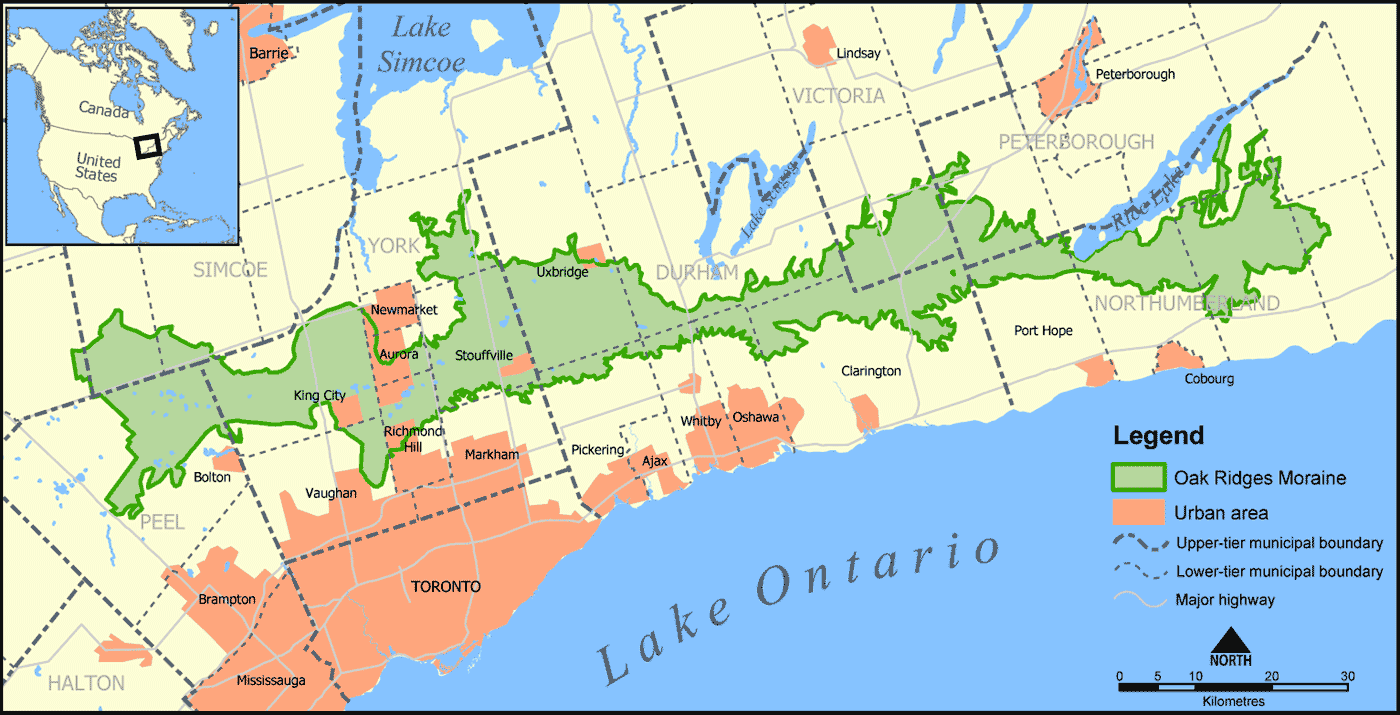 Oak Ridges Moraine Map large map