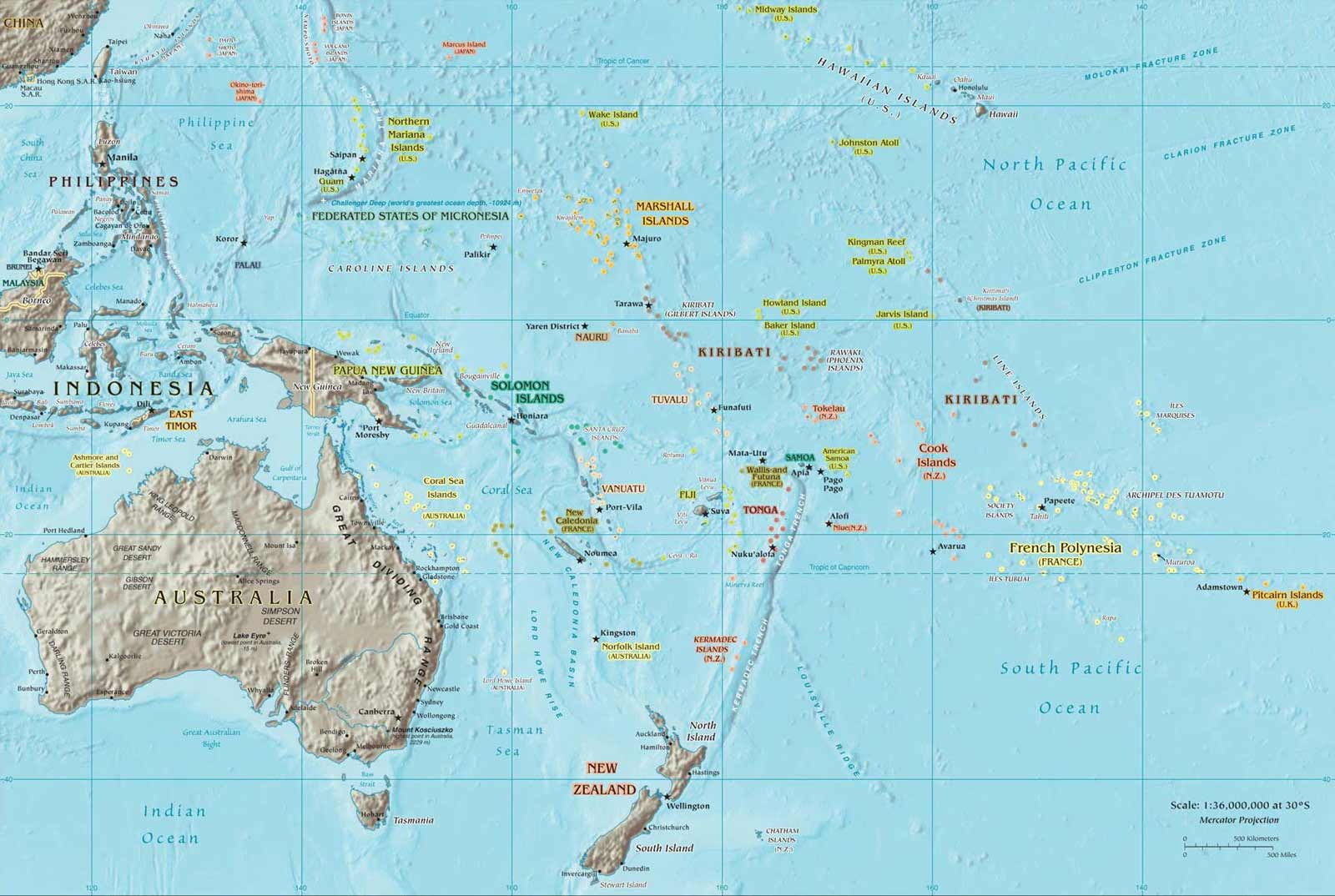 Oceania Map 2 large map