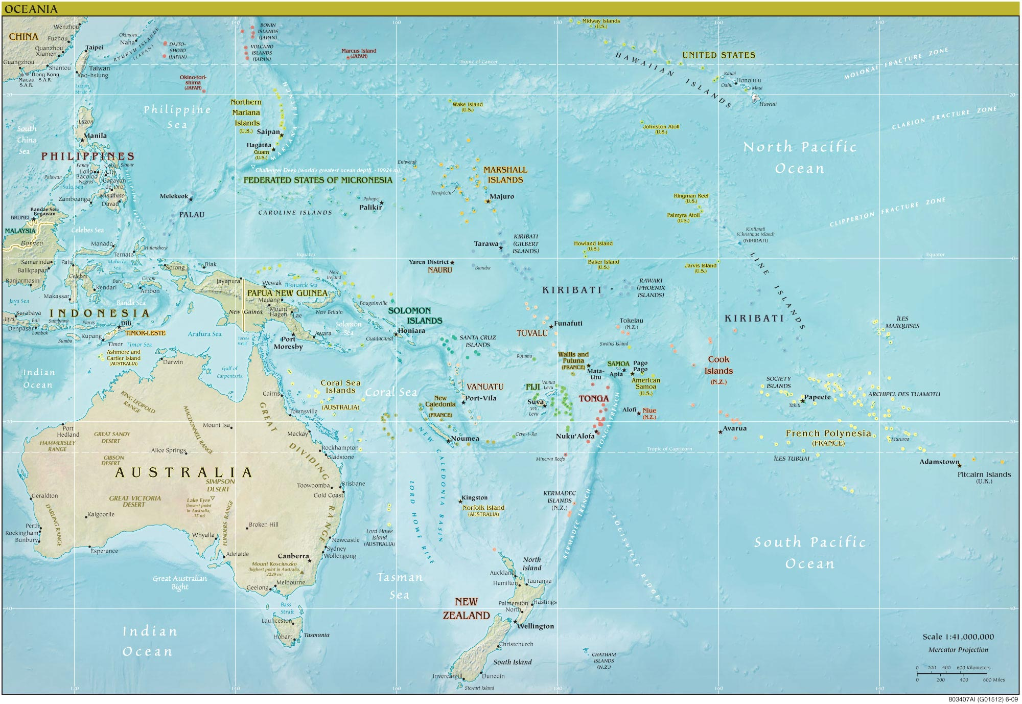 oceania physical big map large map