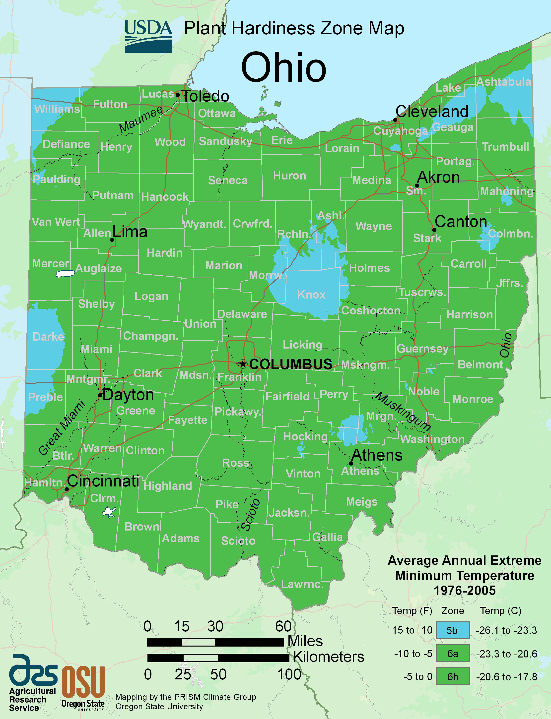 Ohio Plant Hardiness Zone Map large map