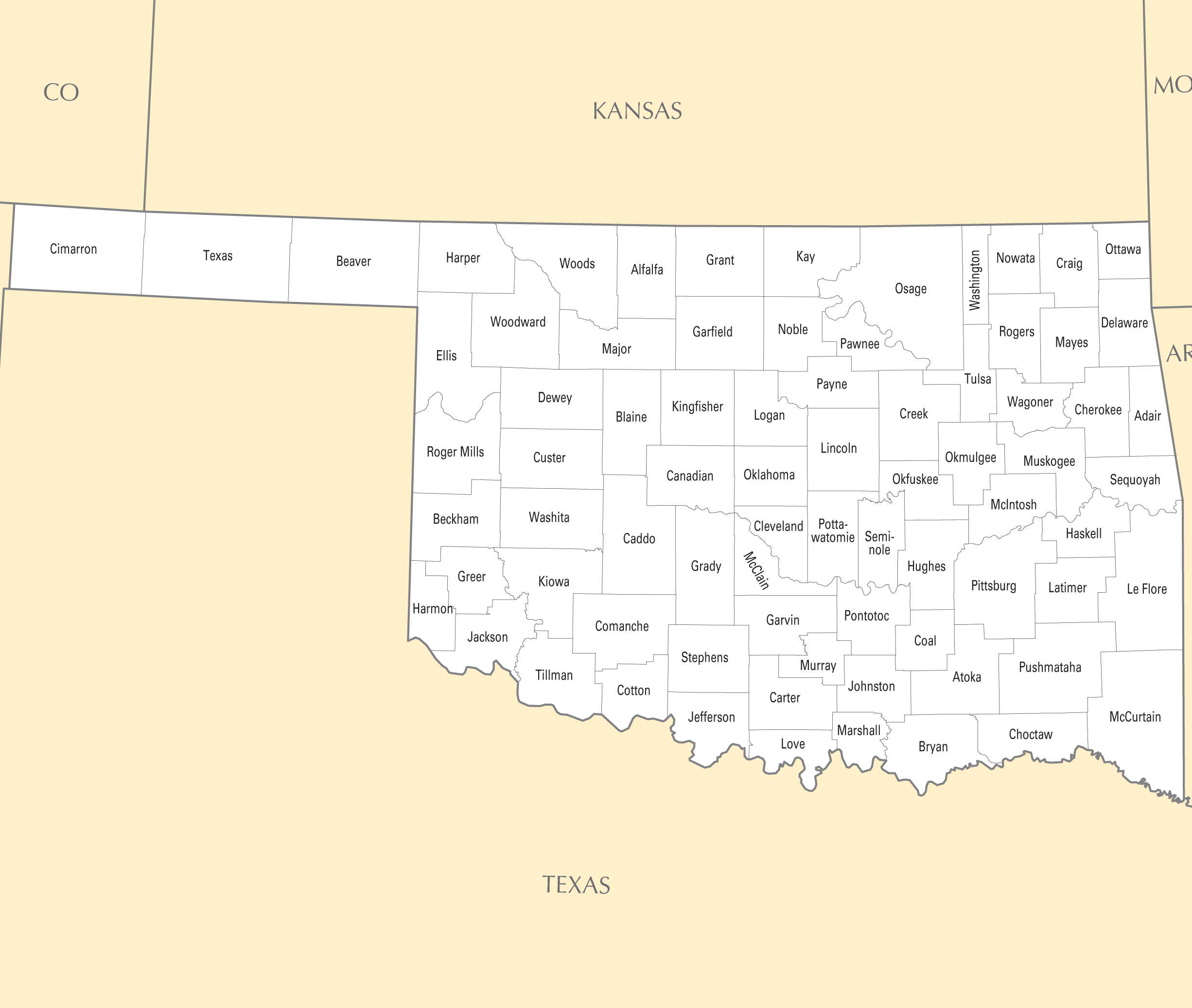 Oklahoma County Map Mapsofnet - Map of oklahoma with cities