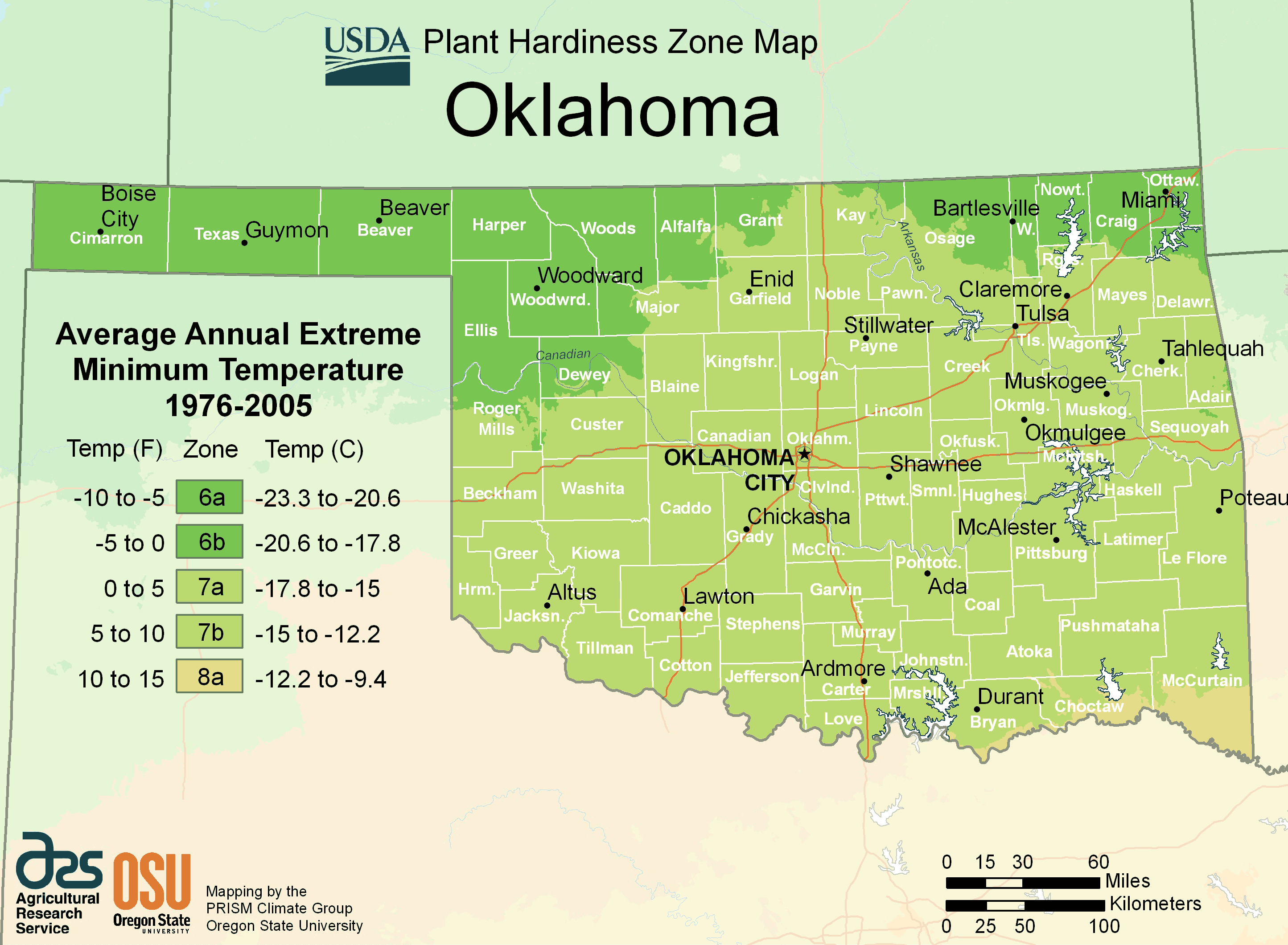 Oklahoma Plant Hardiness Zone Map large map