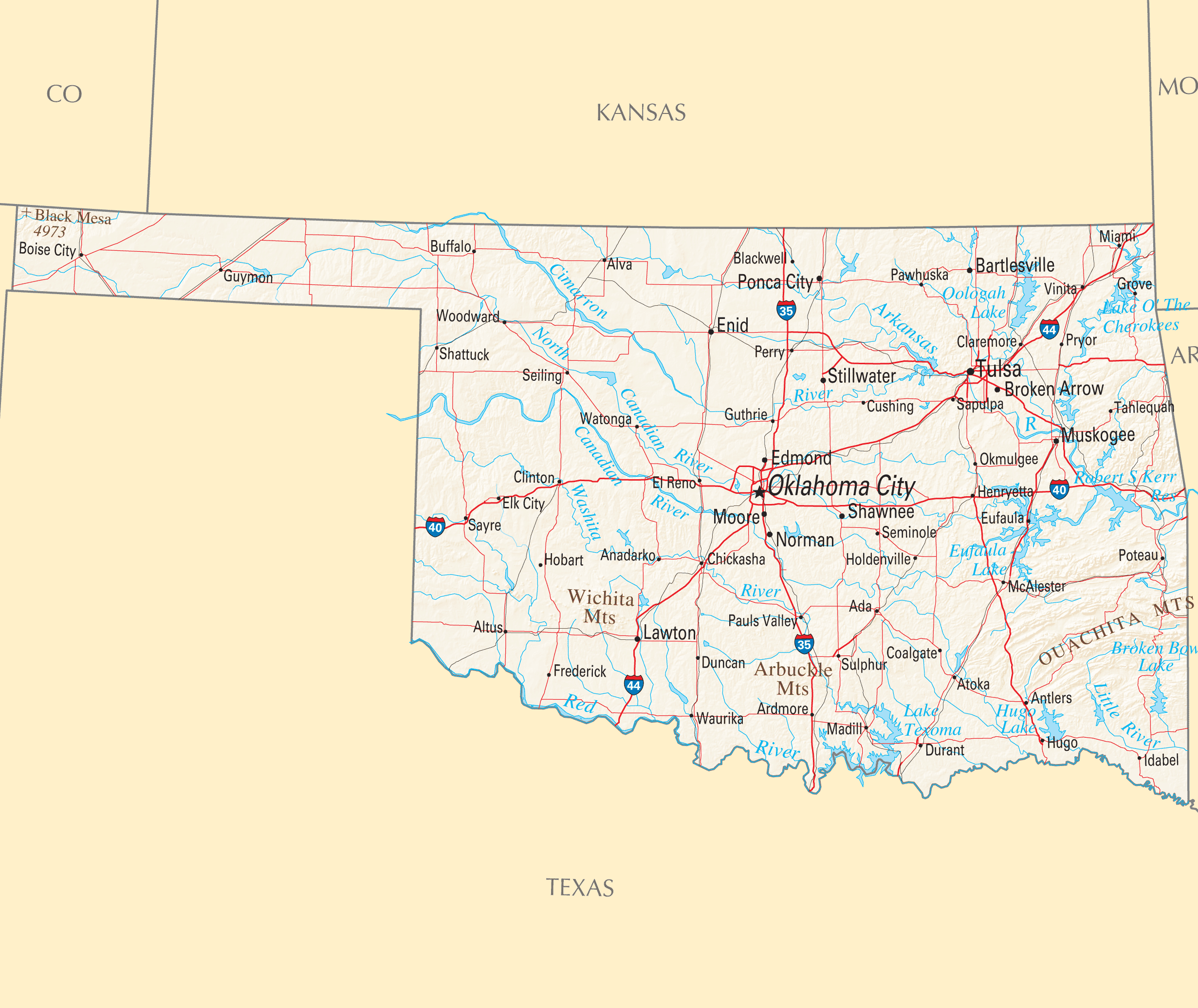 Oklahoma Reference Map Mapsofnet