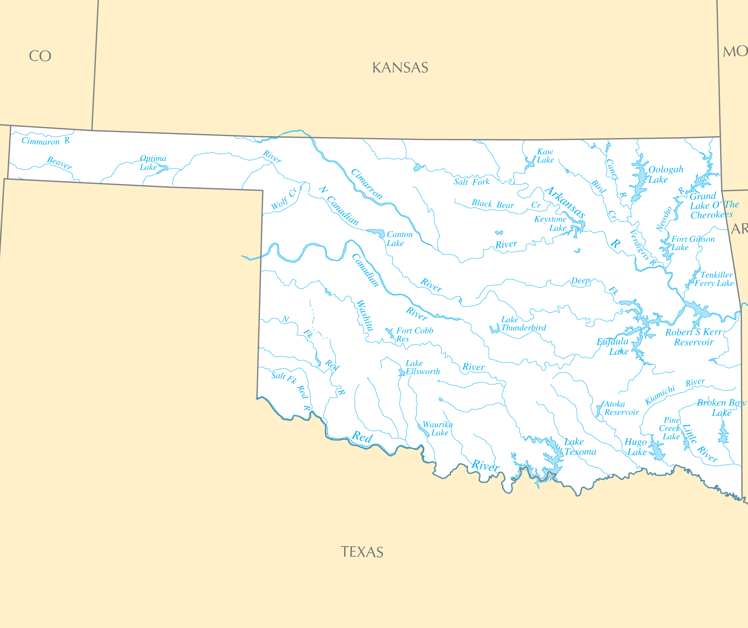 Oklahoma Rivers And Lakes large map
